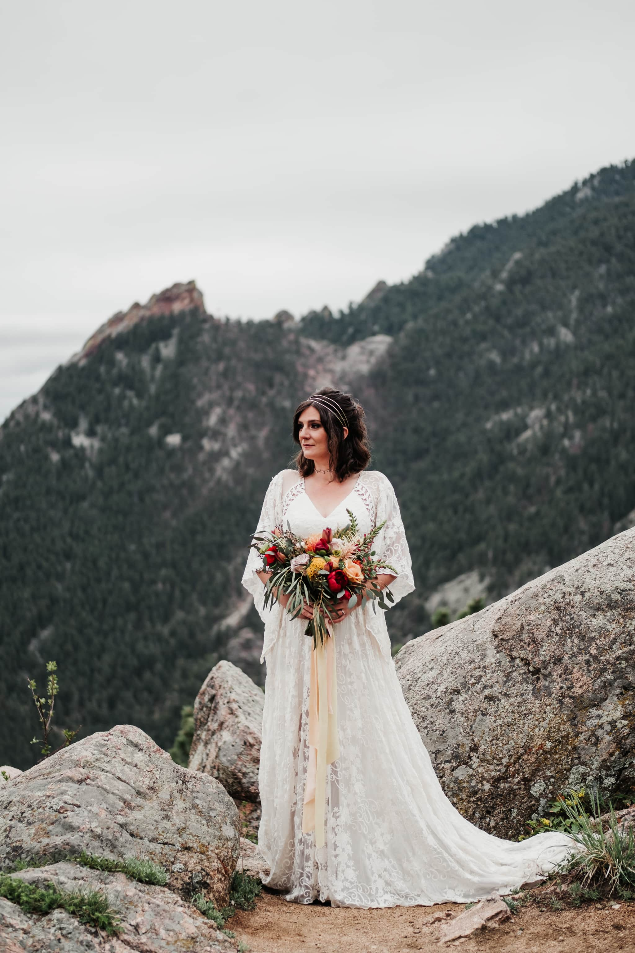 Colorado hiking elopement, mountain wedding, Boulder wedding photographer, bouquet by Fawns Leap