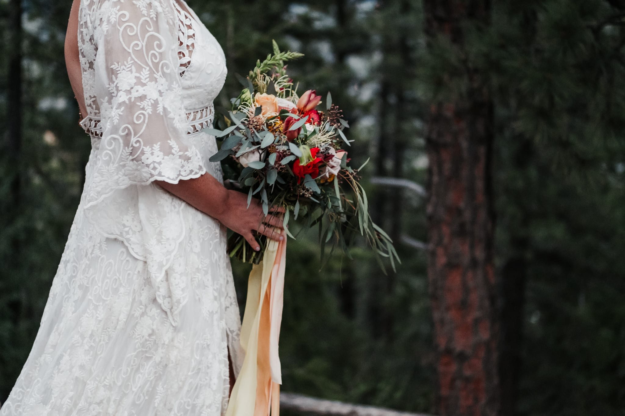 Sunrise Amphitheater Elopement, Flagstaff Boulder Colorado wedding photographer, bouquet by Fawns Leap