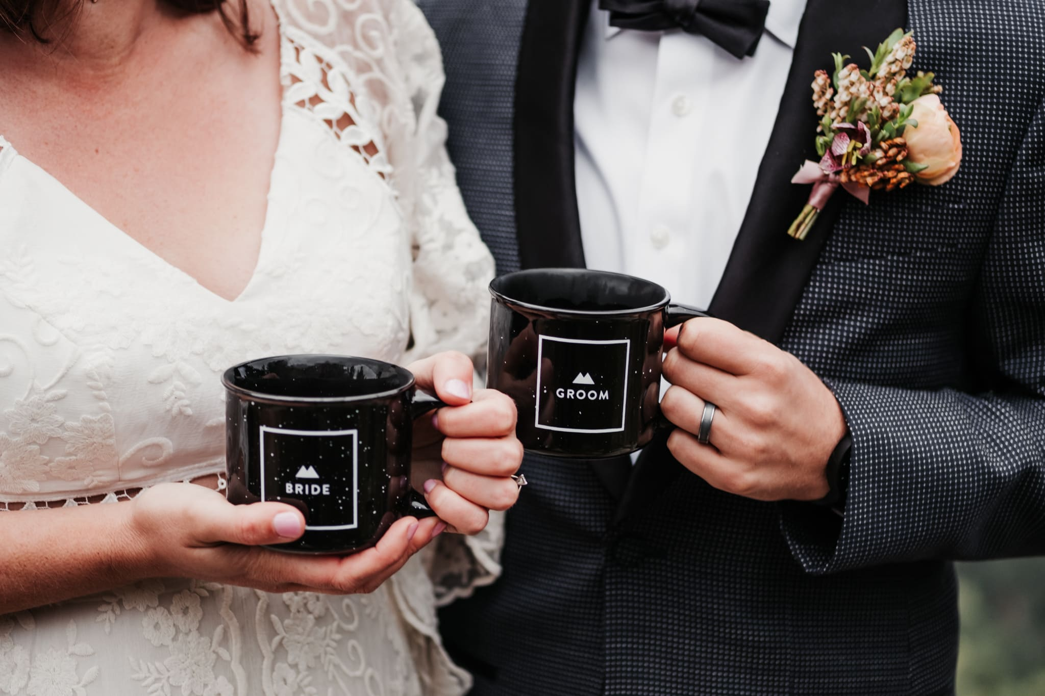 Bride and groom holding coffee mugs by Rocky Mountain Bride