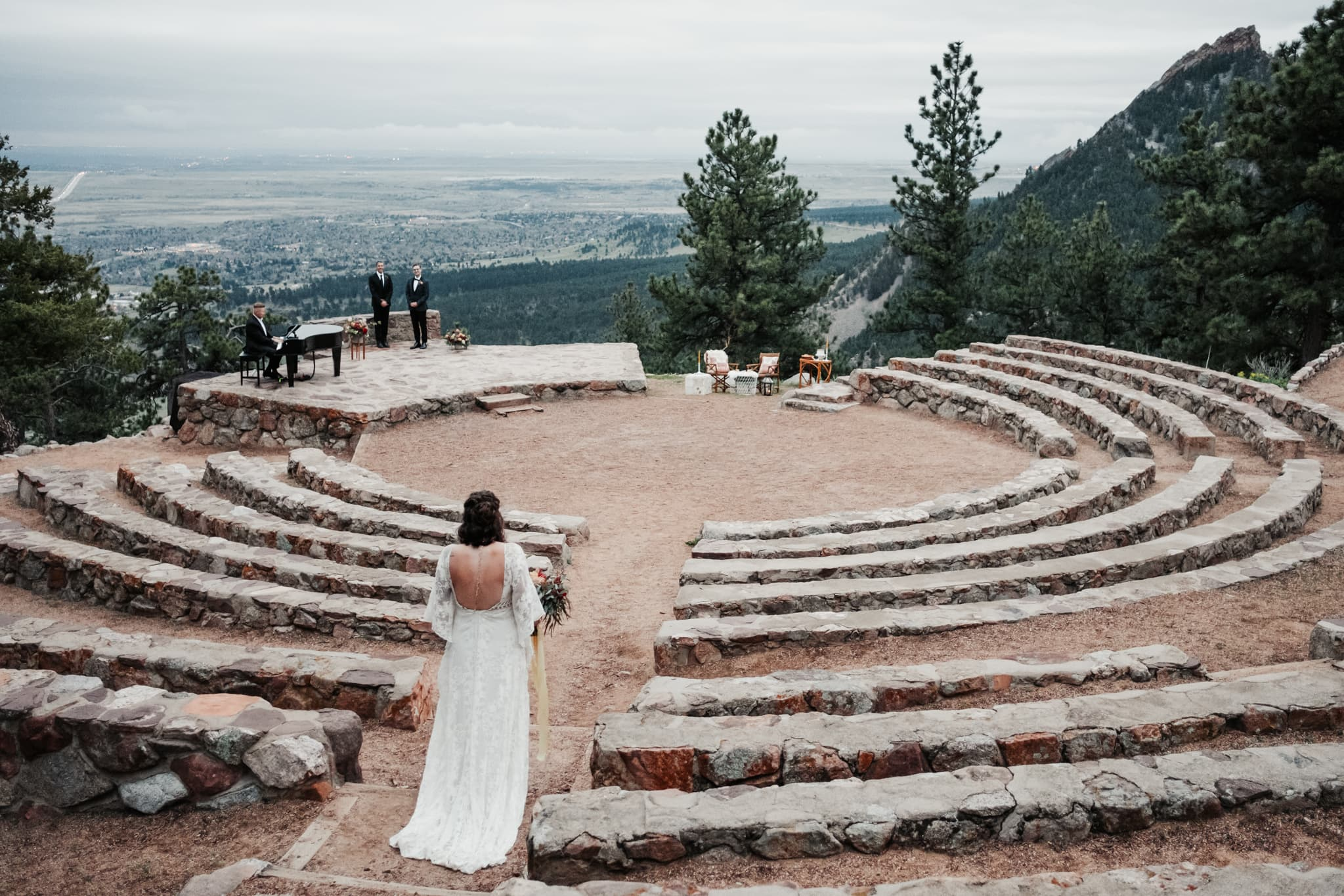 Sunrise Amphitheater Elopement, Flagstaff Boulder Colorado wedding photographer, bride wearing dress by Rue De Seine bridal