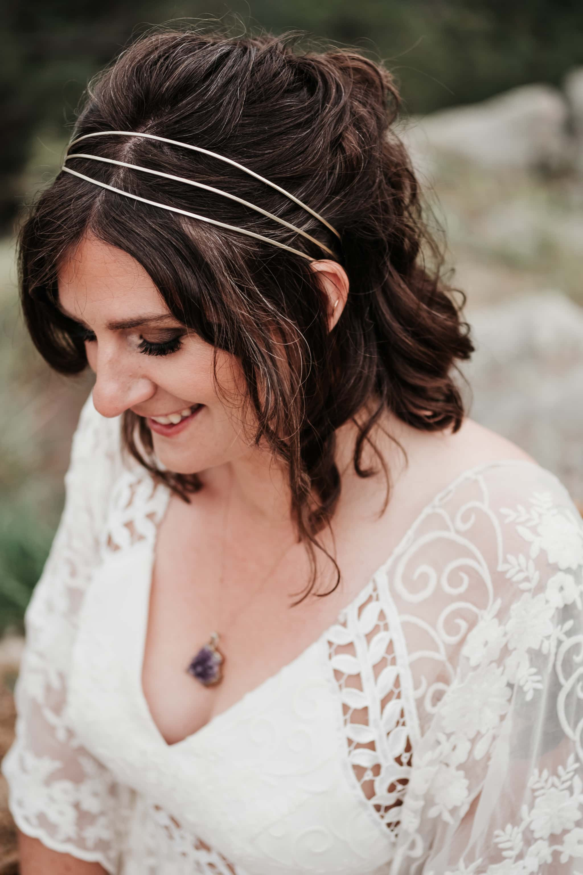 Bride wearing headband, amethyst necklace, wedding dress by Rue de Seine bridal