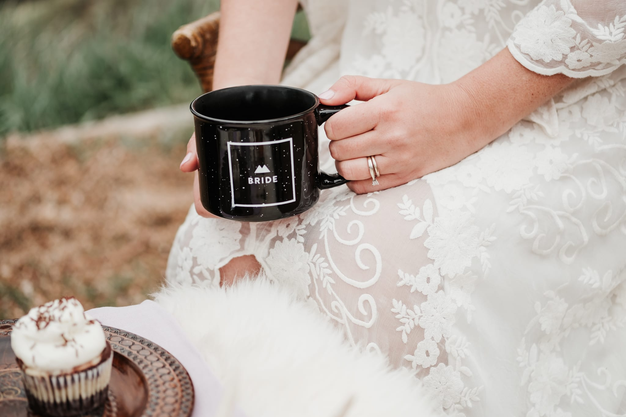 Bride holding coffee mug