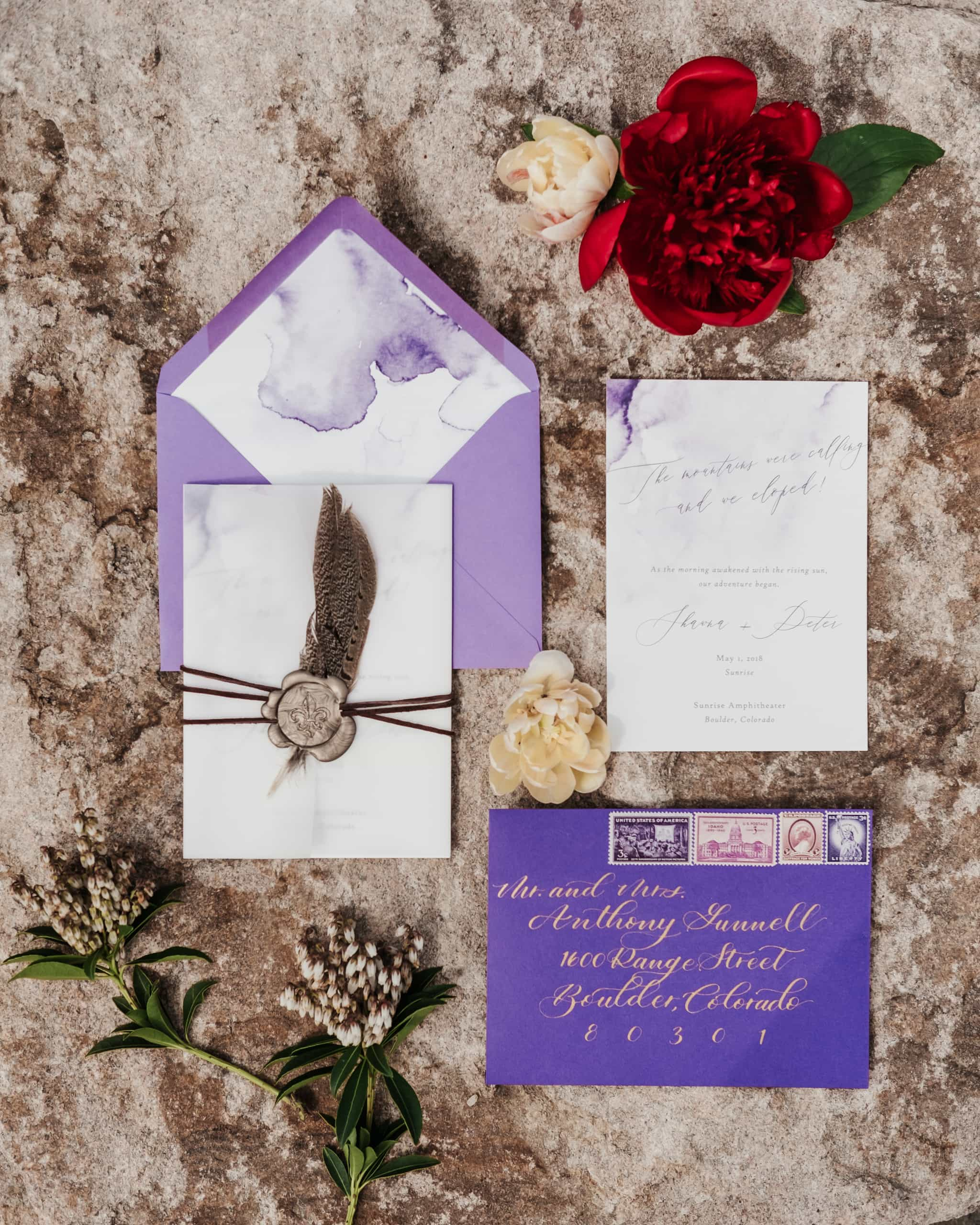 Elopement announcement by XO WYO + CO, wedding stationery, purple wedding envelopes