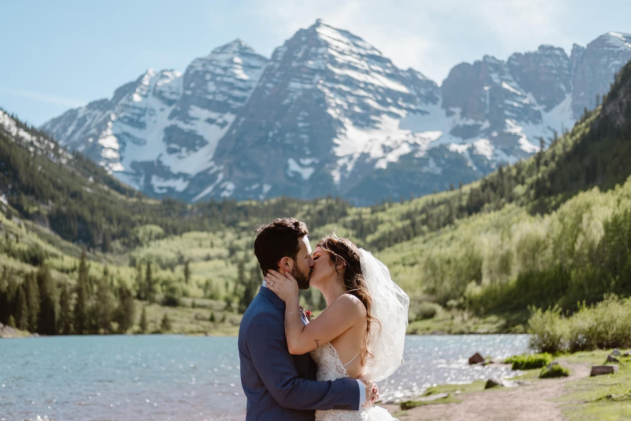 Wedding photos at Maroon Bells Amphitiheater in Aspen