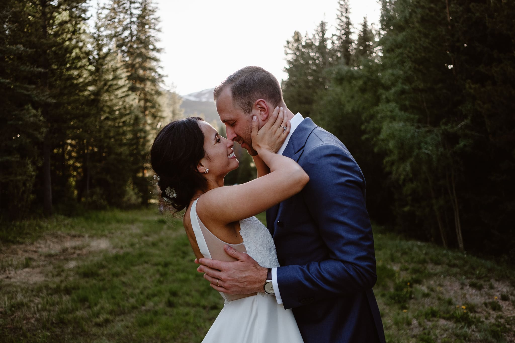 Breckenridge Nordic Center Wedding Photographer, bride and groom portraits in woods at golden hour, Summit County wedding photographer