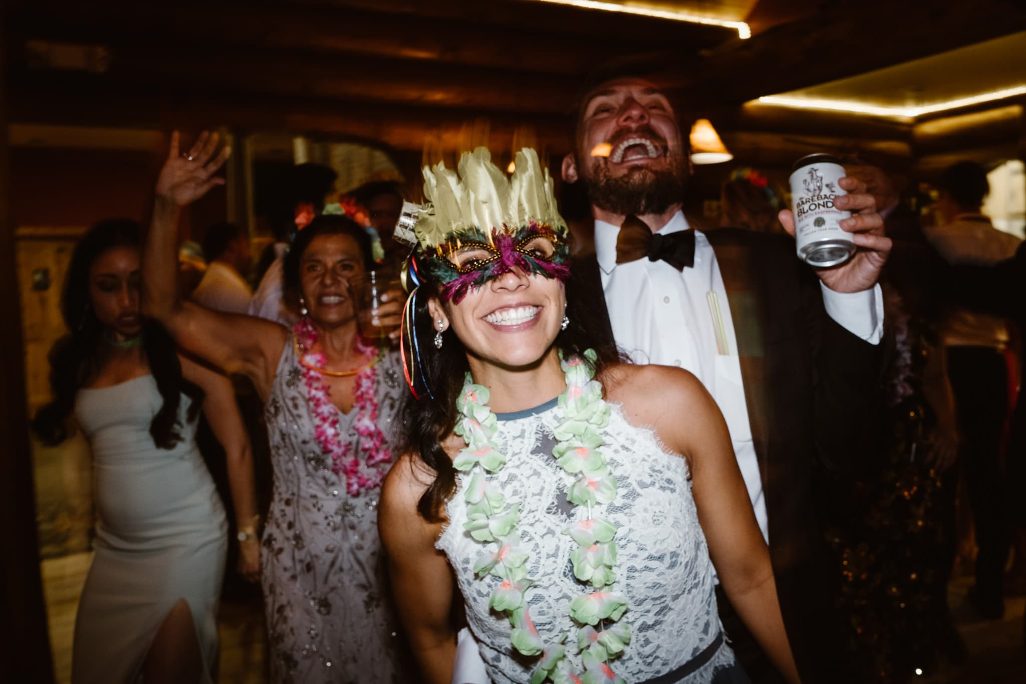 La hora loca reception dancing at Breckenridge Nordic Center wedding, Colorado wedding photographer