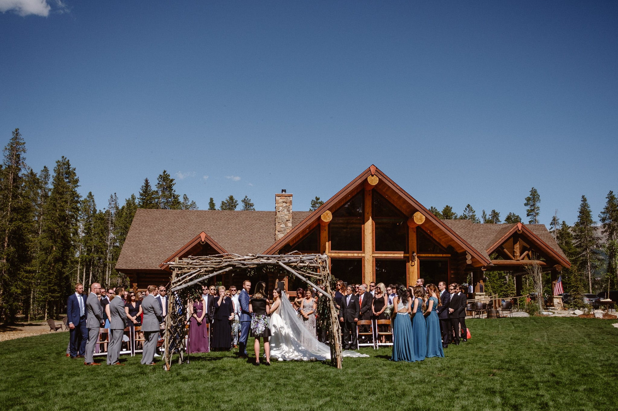 Breckenridge Nordic Center wedding venue, outdoor log cabin wedding ceremony, Colorado wedding photographer