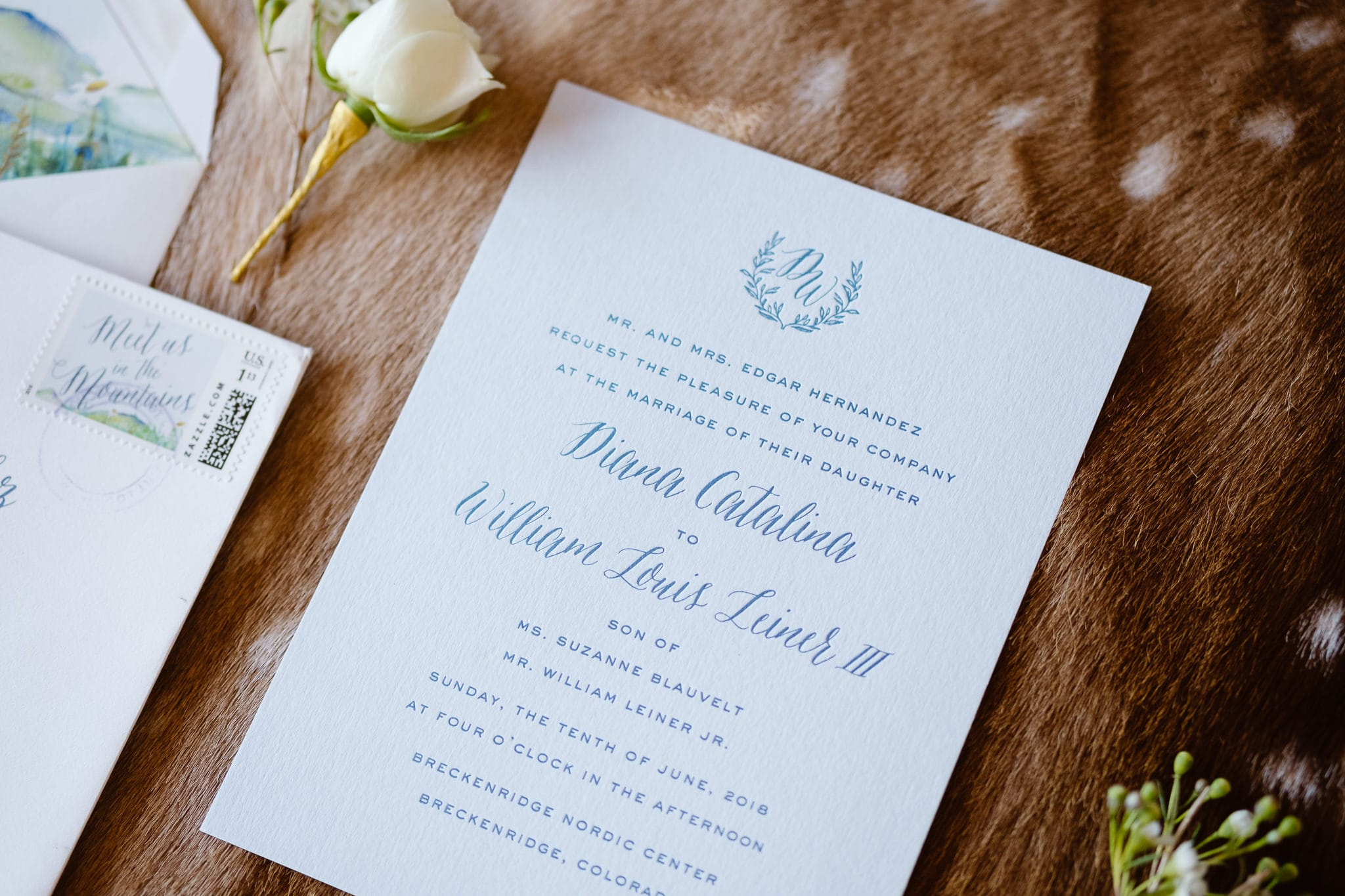Mountain inspired wedding stationery with watercolor paint by Cheree Berry Paper, Breckenridge Nordic Center wedding