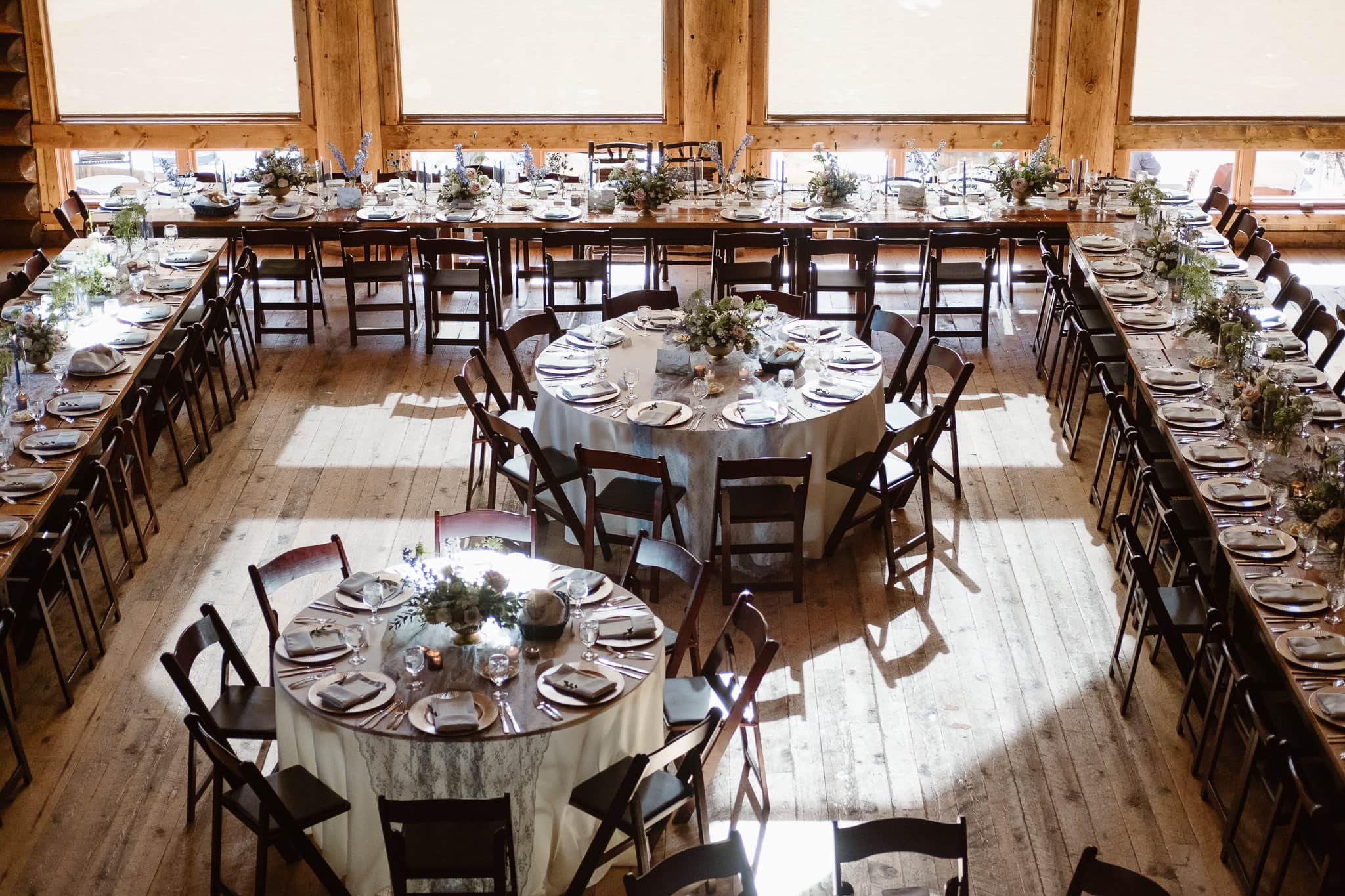 Breckenridge Nordic Center reception details with flowers by Flora by Nora, stationery by Cheree Berry Paper, Summit County wedding photographer, Colorado wedding