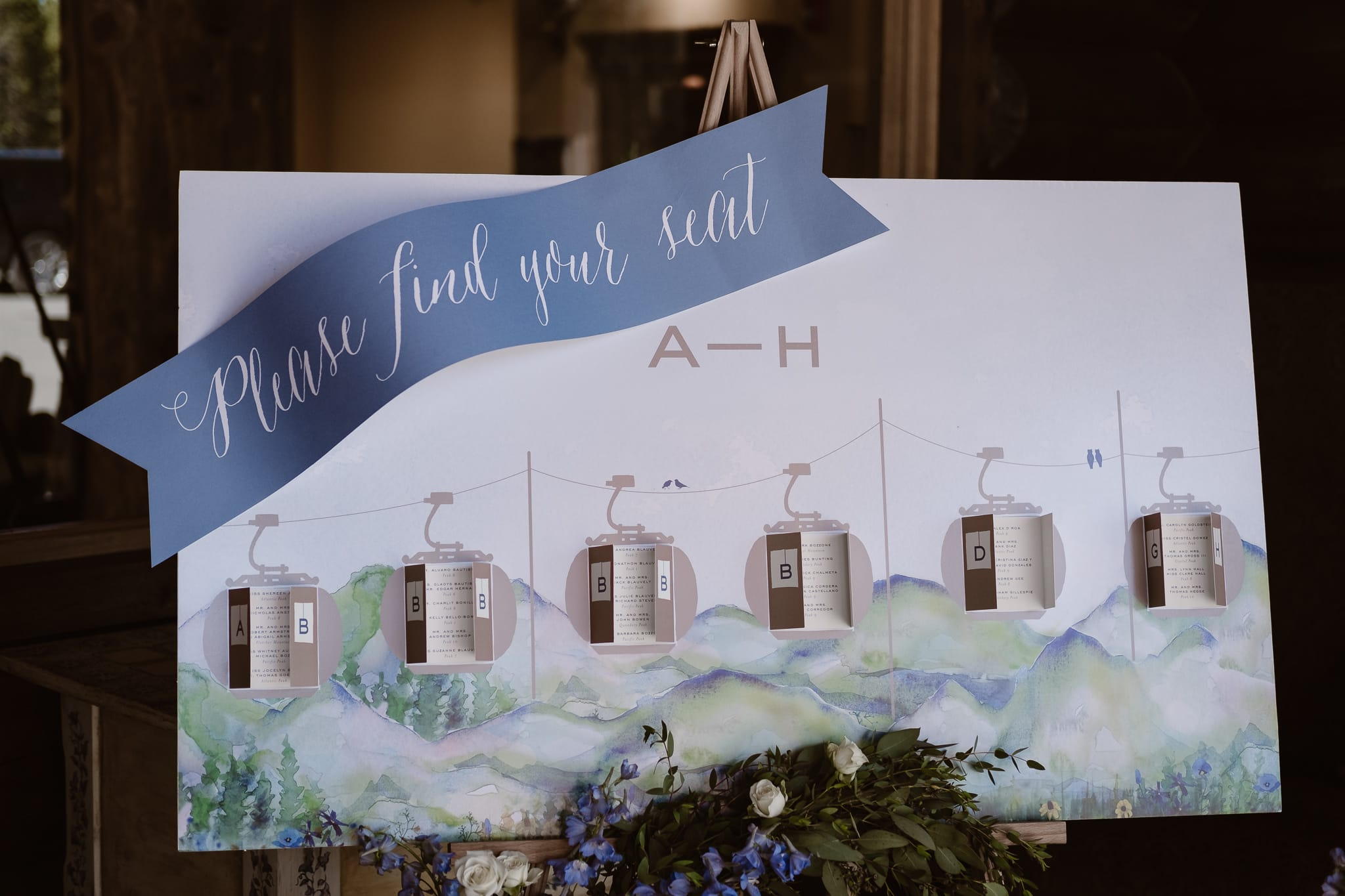 Mountain and ski lift inspired Escort Cards by Cheree Berry Paper at Breckenridge Nordic Center wedding, Summit County wedding photographer