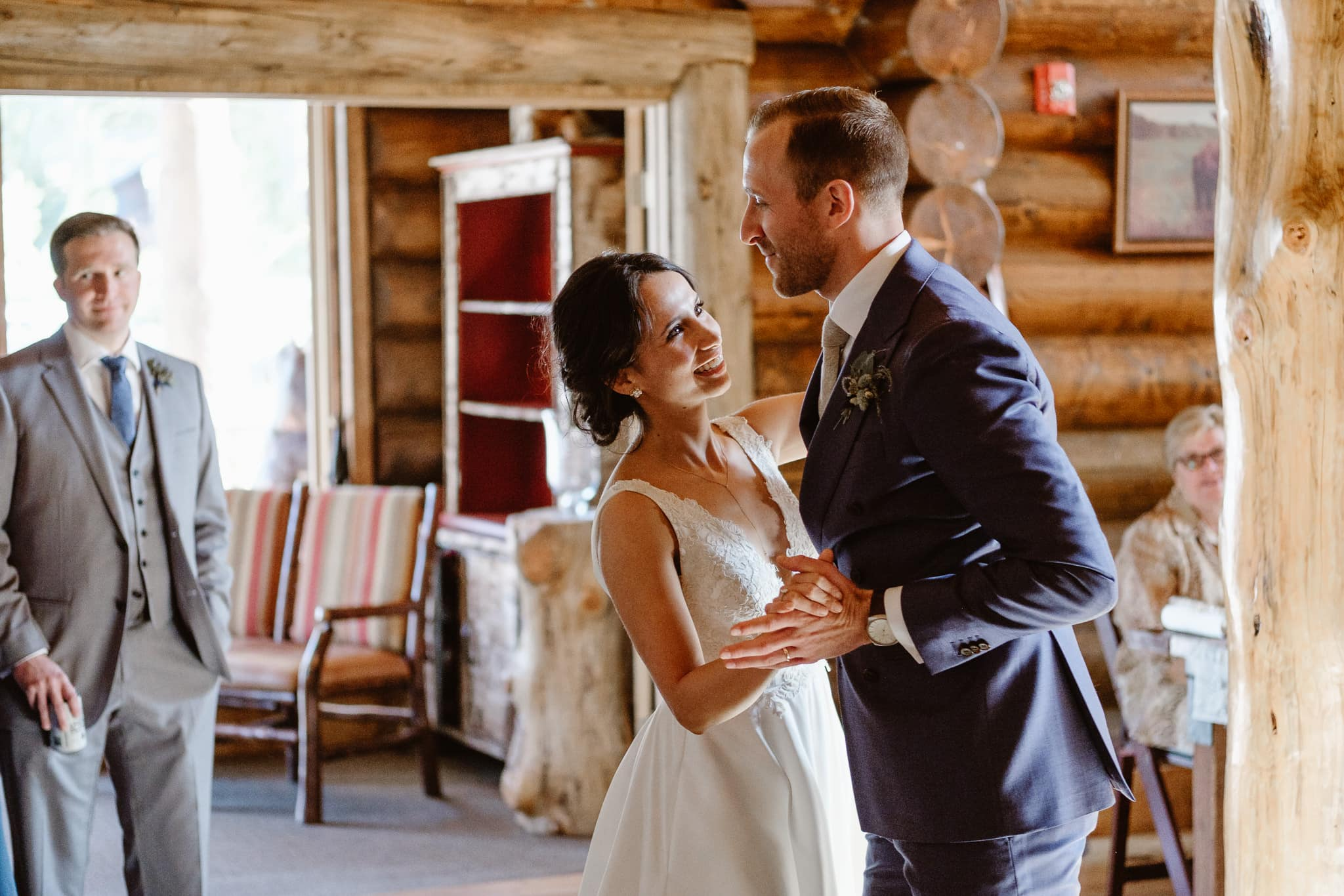 Bride and groom first dance at Breckenridge Nordic Center wedding, Summit County wedding photographer