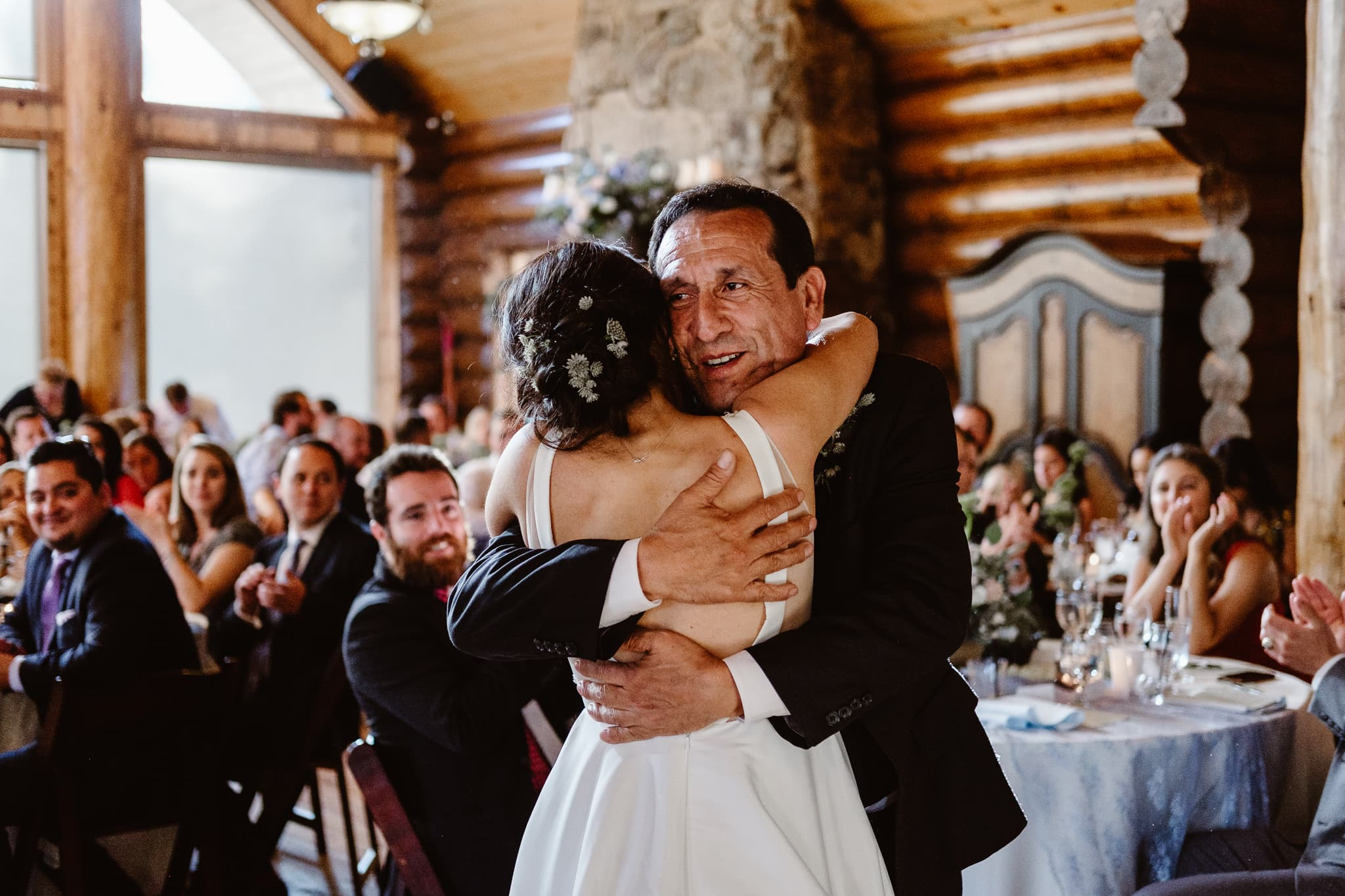 Bride dancing with her father at Breckenridge Nordic Center wedding, Summit County wedding photographer