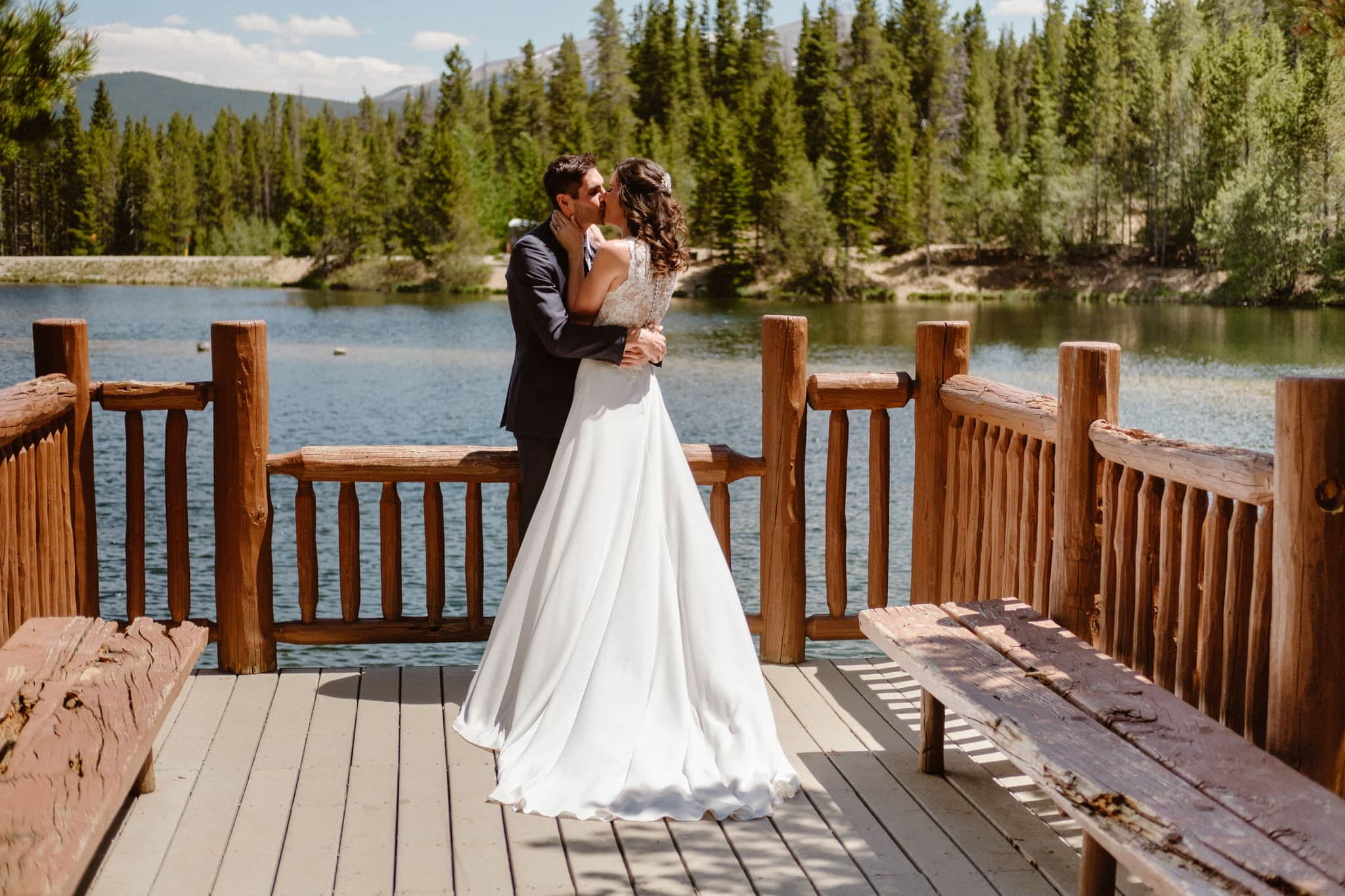 Bride and groom first look at Sawmill Reservoir in Breckenridge, Colorado wedding photographer