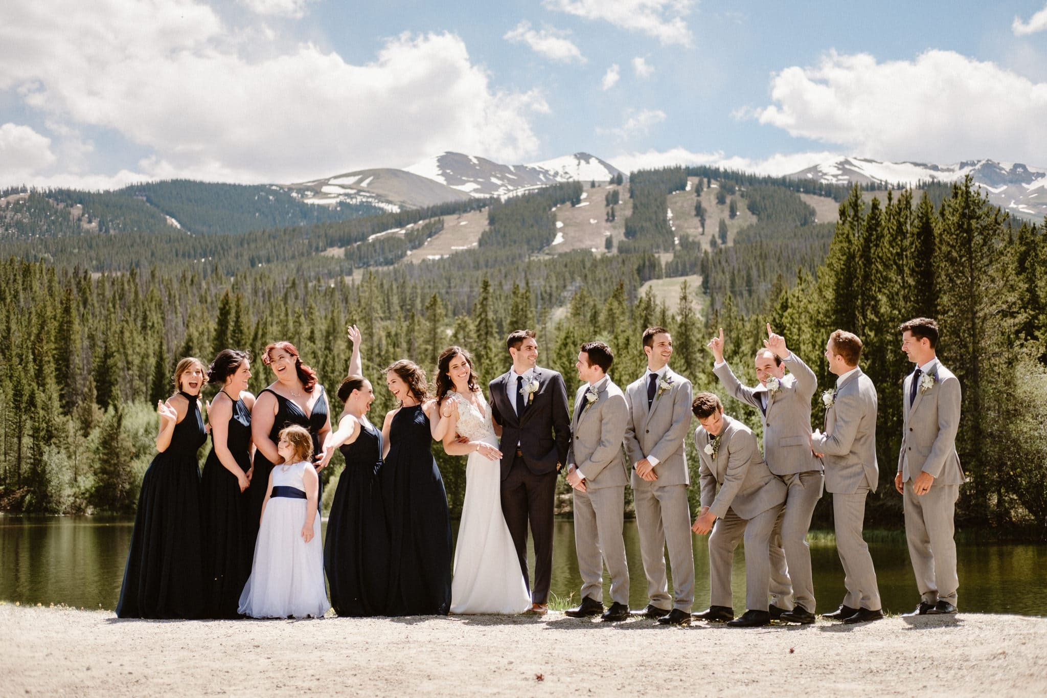 Wedding Party photos at Sawmill Reservoir in Breckenridge, Colorado wedding photographer