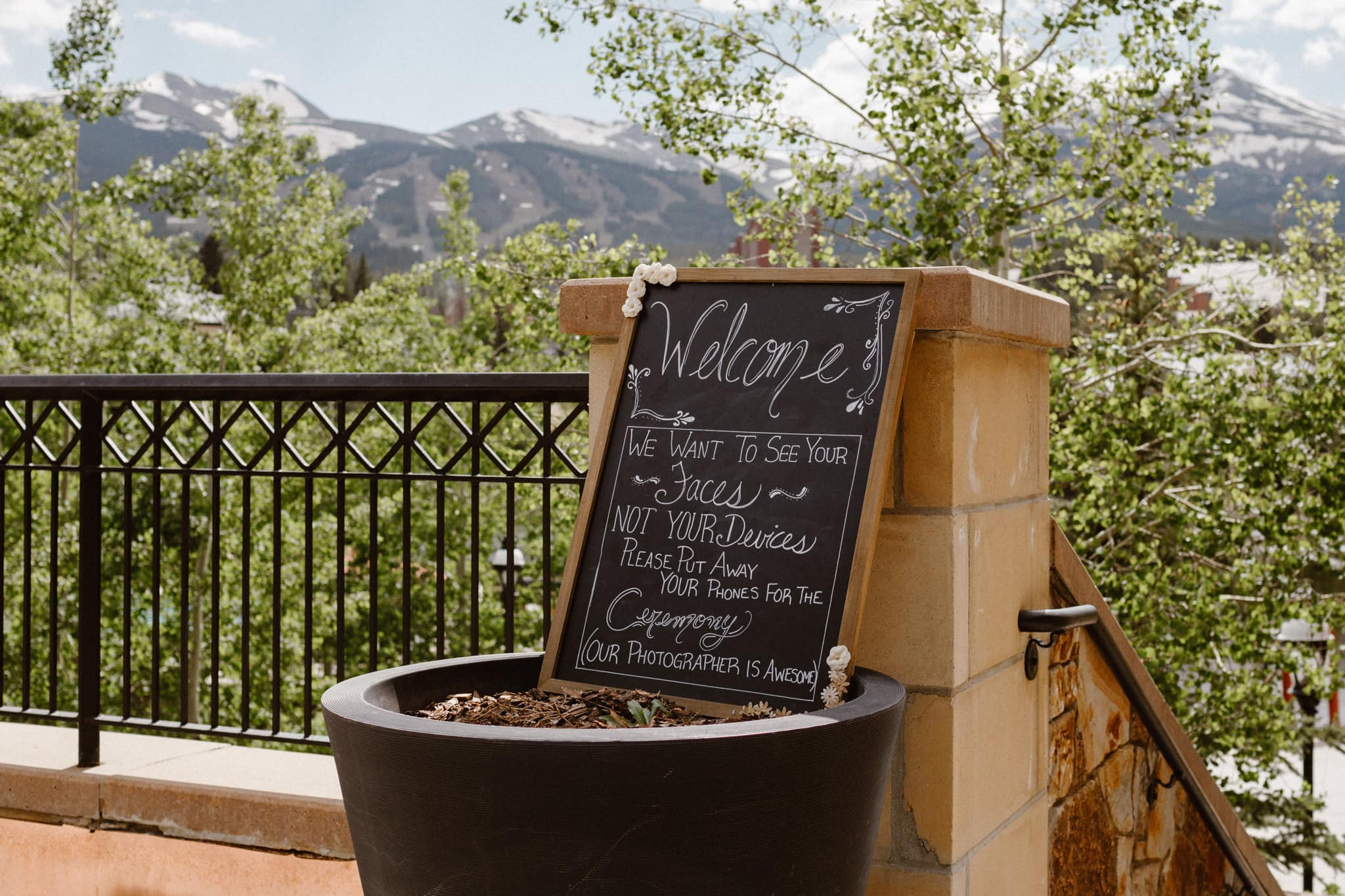 Unplugged wedding ceremony chalkboard sign at Main Street Station wedding, Breckenridge wedding photographer