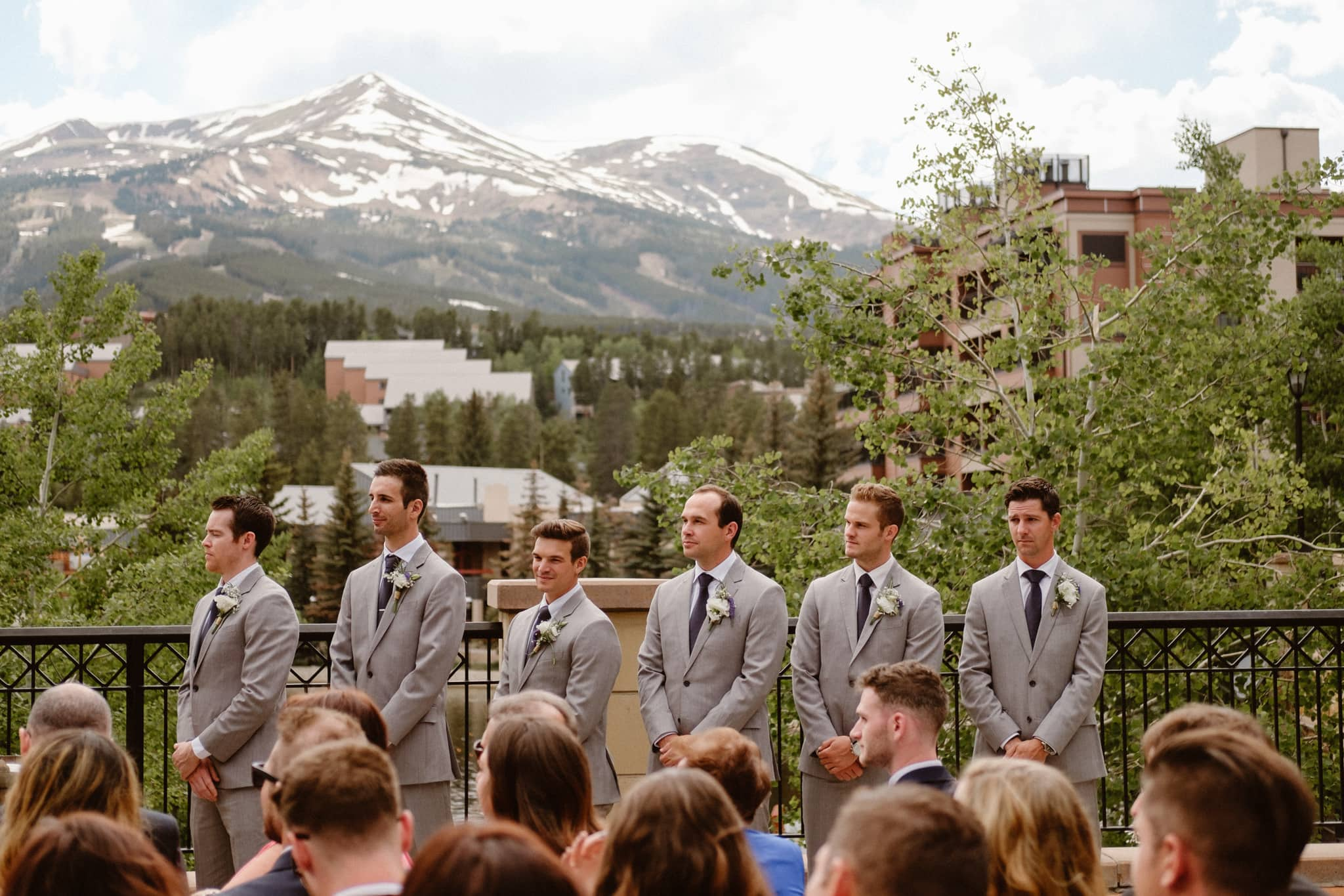Groomsmen during Main Street Station wedding ceremony, Breckenridge wedding photographer