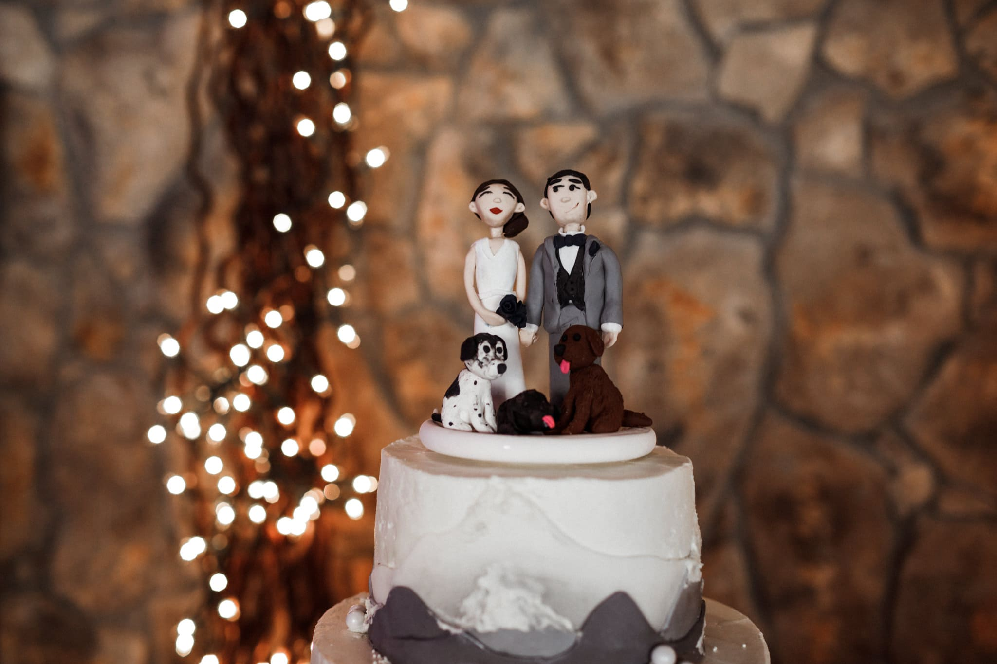 Mountain wedding cake with custom cake topper of bride and groom with their three dogs