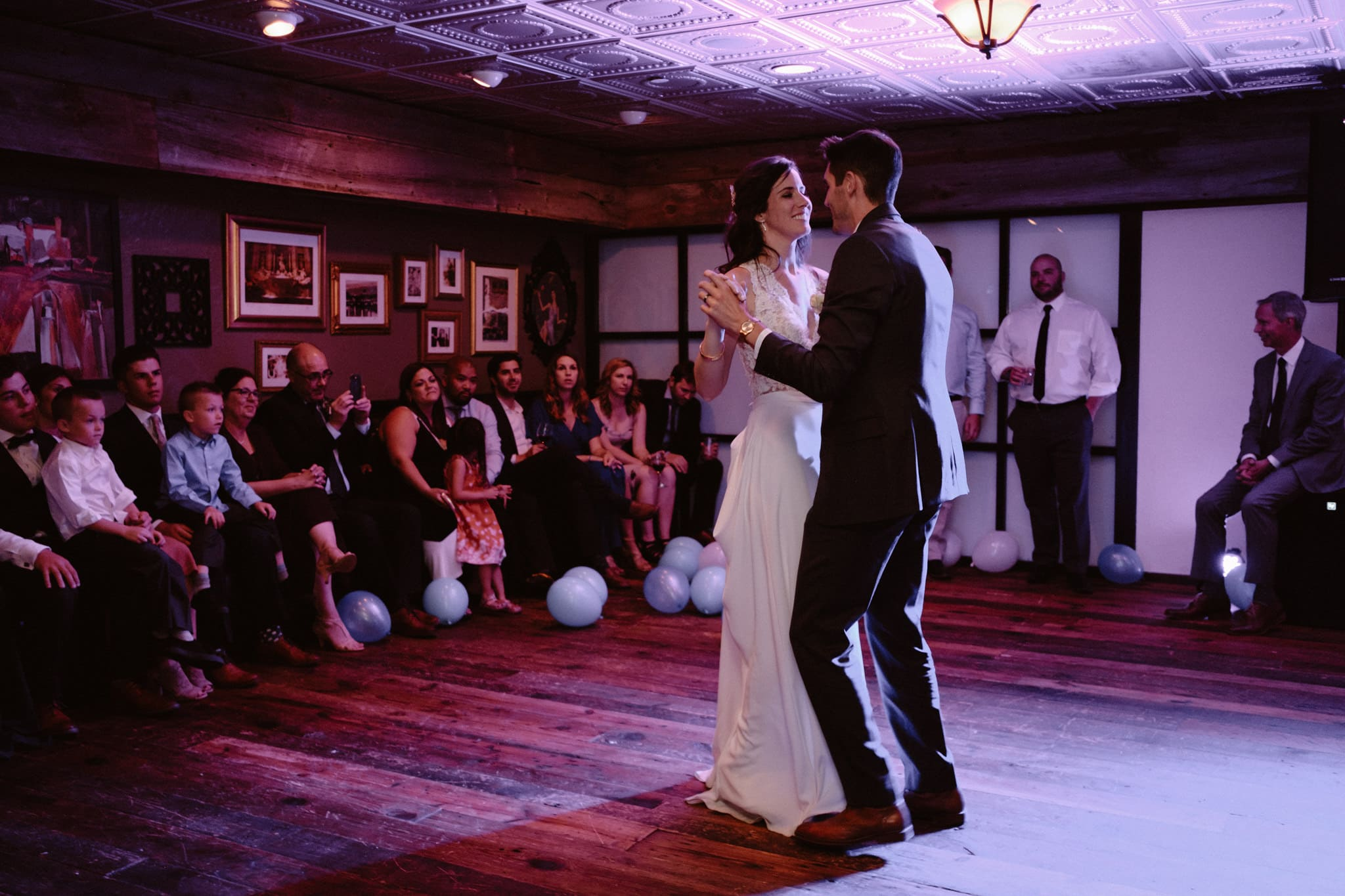 Bride and groom first dance at Sauce on the Maggie reception venue, Breckenridge wedding photographer