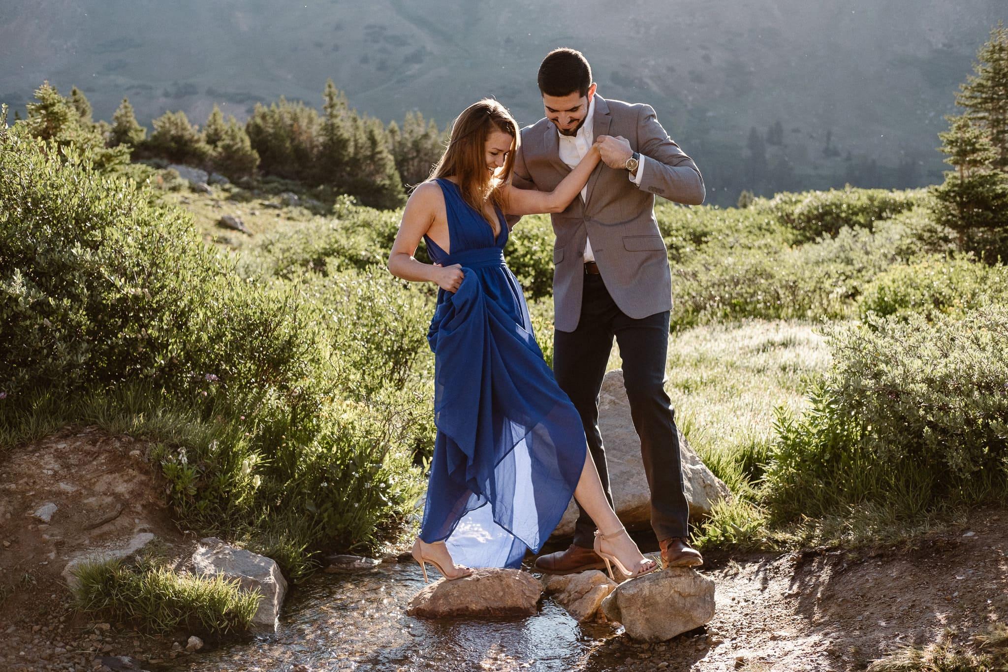 Colorado adventure engagement photography, Loveland Pass mountain elopement, Summit County wedding photographer