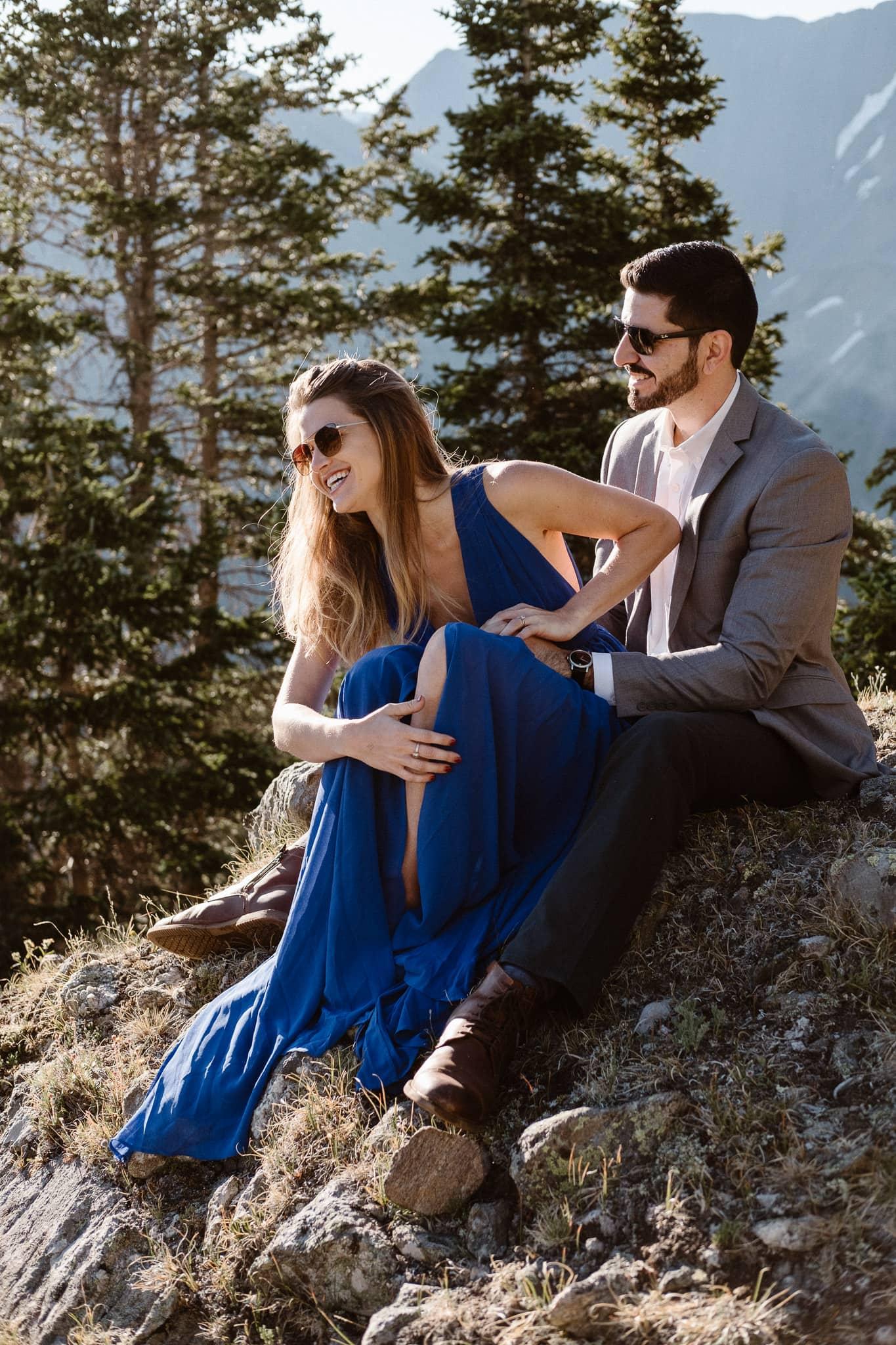 Colorado adventure engagement photography, Loveland Pass mountain alpine lake elopement, Summit County wedding photographer