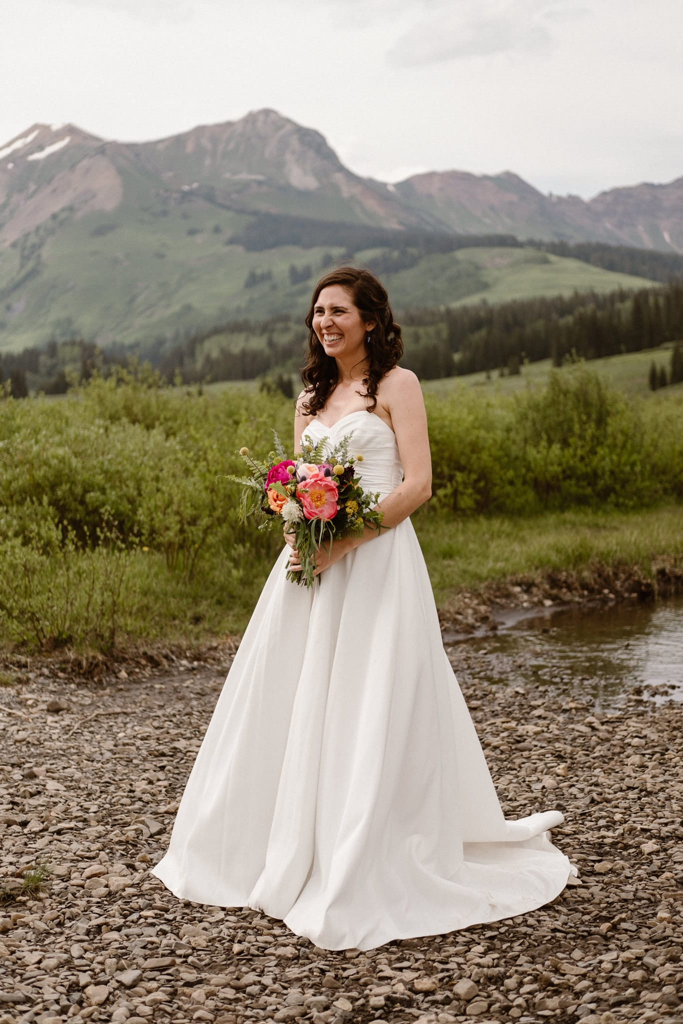 Crested Butte elopement photographer, Colorado adventure wedding photographer, bride and groom mountain portraits