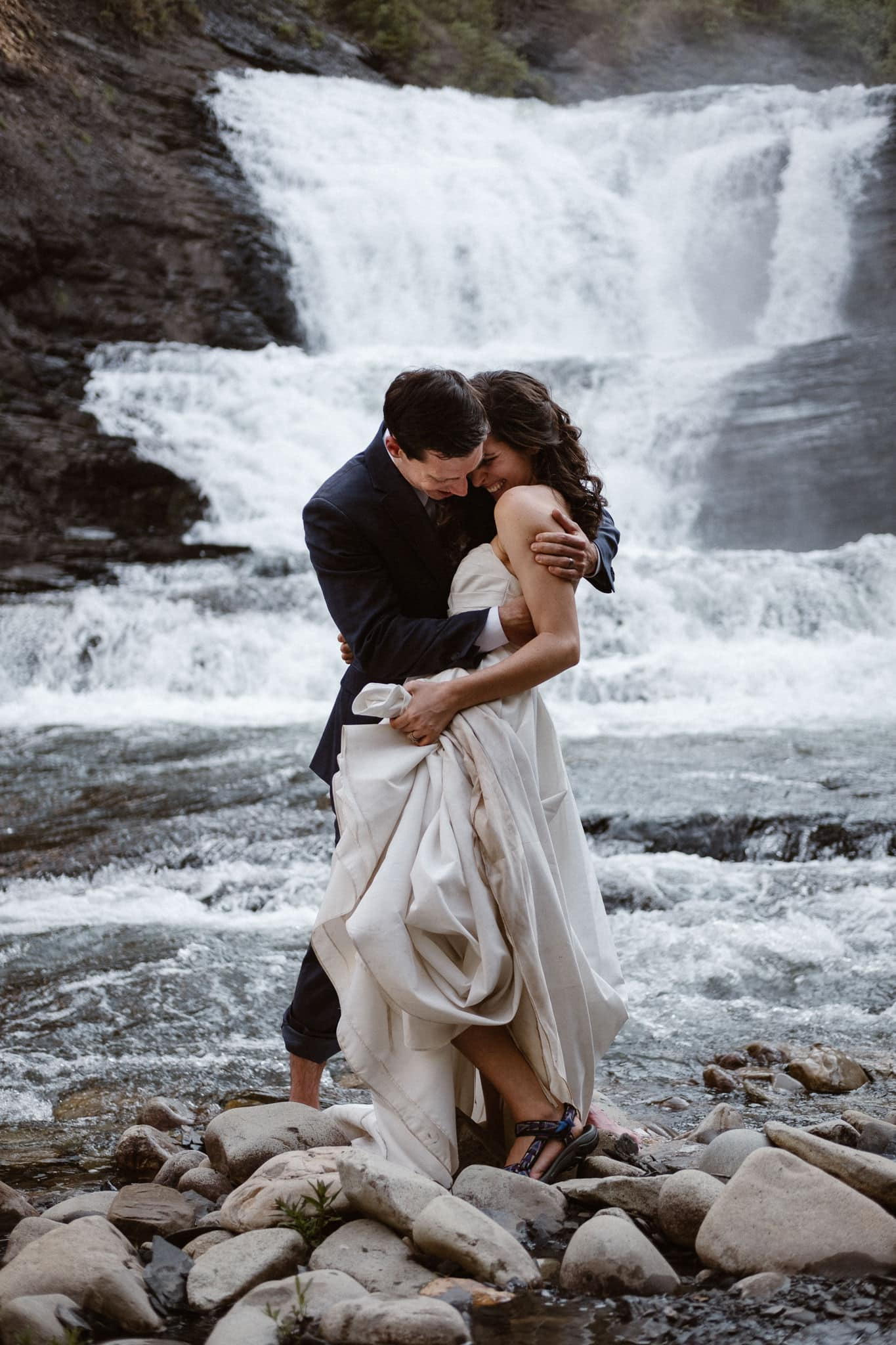 Colorado elopement at waterfall in Crested Butte