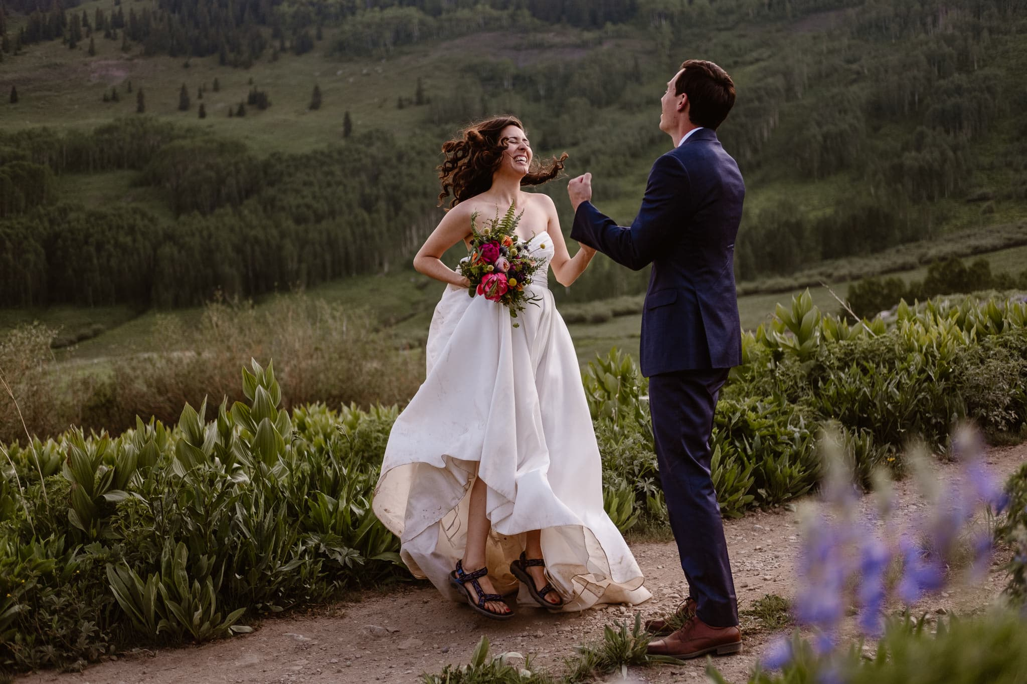 Crested Butte elopement photographer, Colorado adventure wedding photographer, bride jumping with excitement