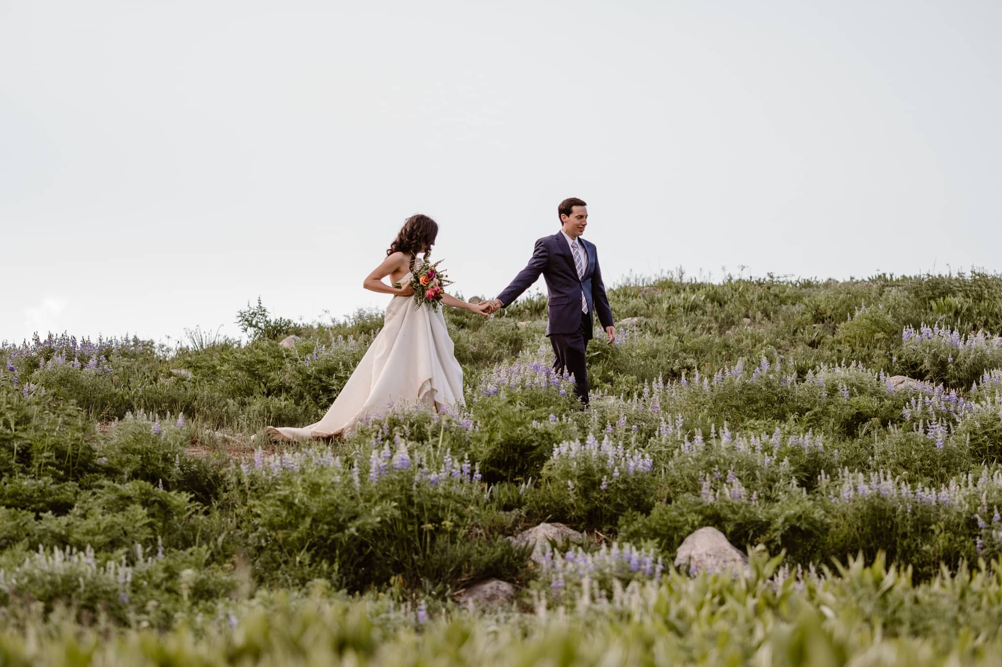 Crested Butte elopement in wildflowers