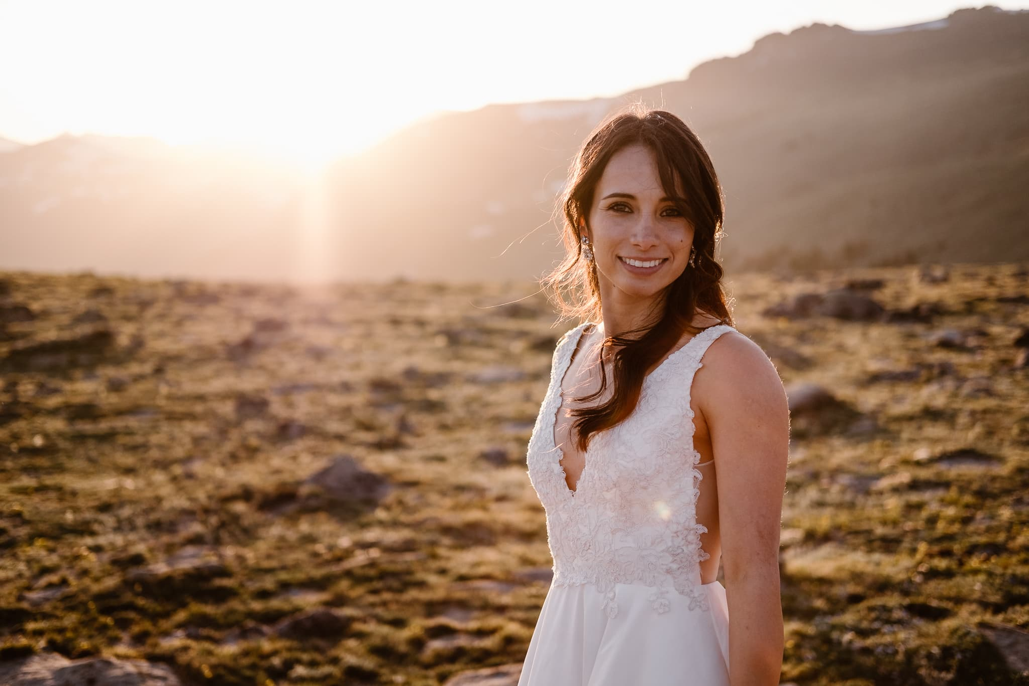 Trail Ridge Road Elopement Photographer, Colorado adventure wedding photography, mountain hiking elopement, bride at sunset