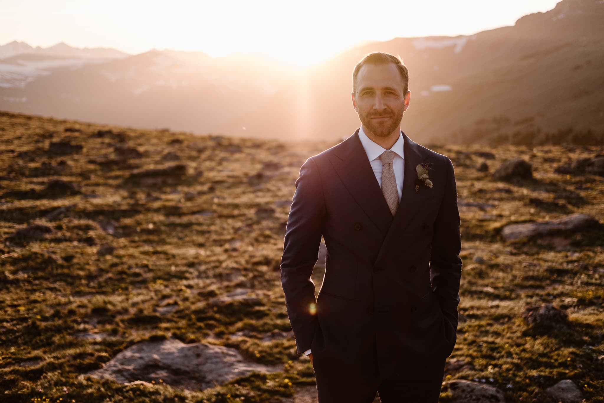 Trail Ridge Road Elopement Photographer, Colorado adventure wedding photography, mountain hiking elopement, groom at sunset