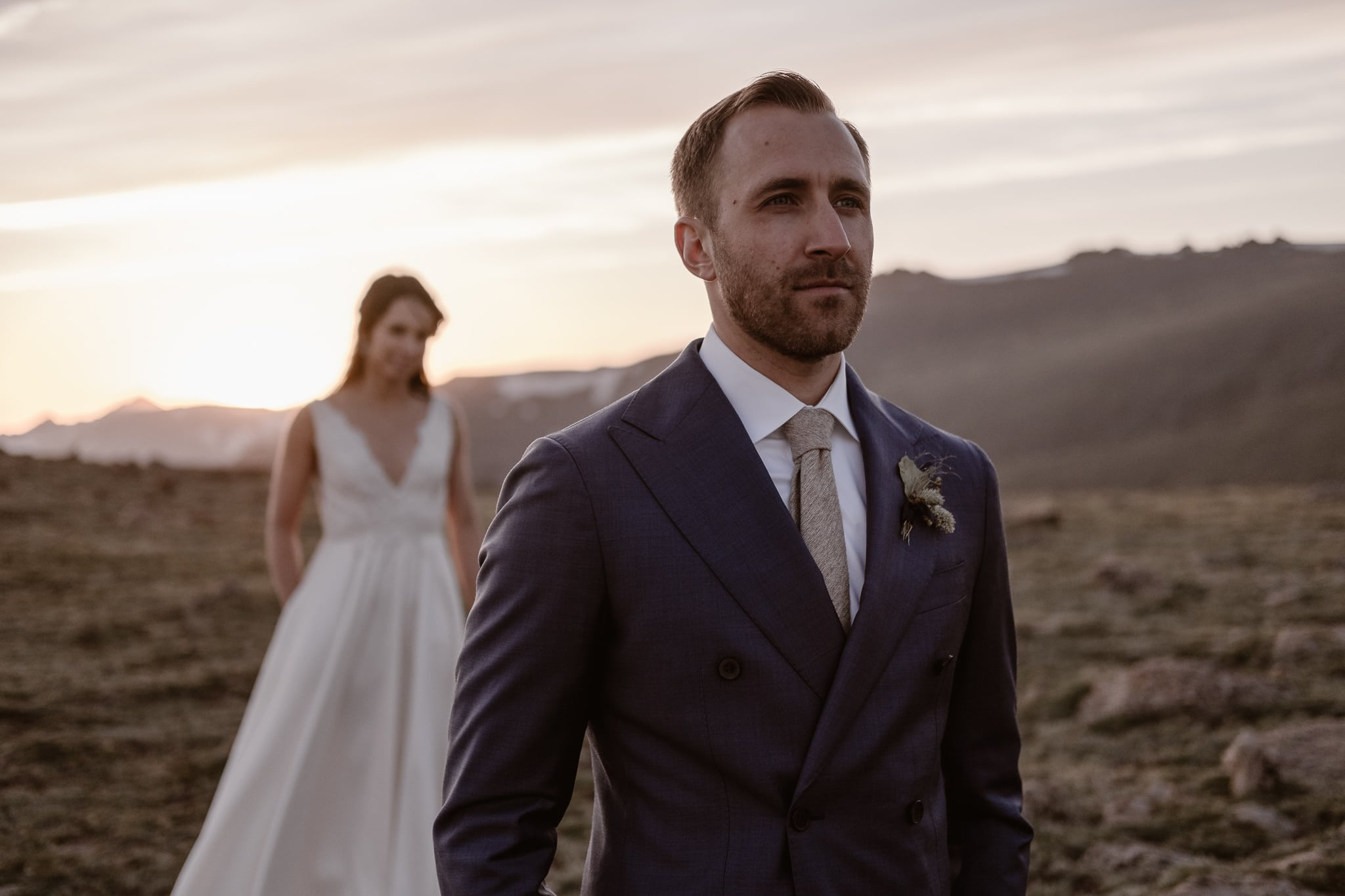 Trail Ridge Road Elopement Photographer, Colorado adventure wedding photography, mountain hiking elopement, bride and groom at sunset