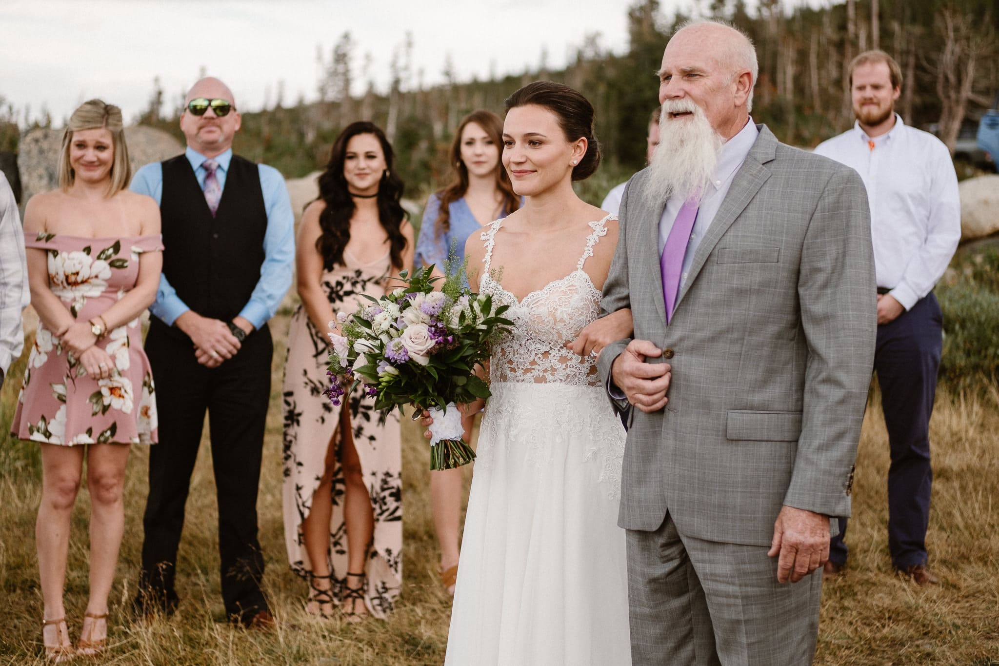 Bride walking down aisle with her father at Colorado mountain elopement, Boulder wedding photographer, alpine lake adventure elopement