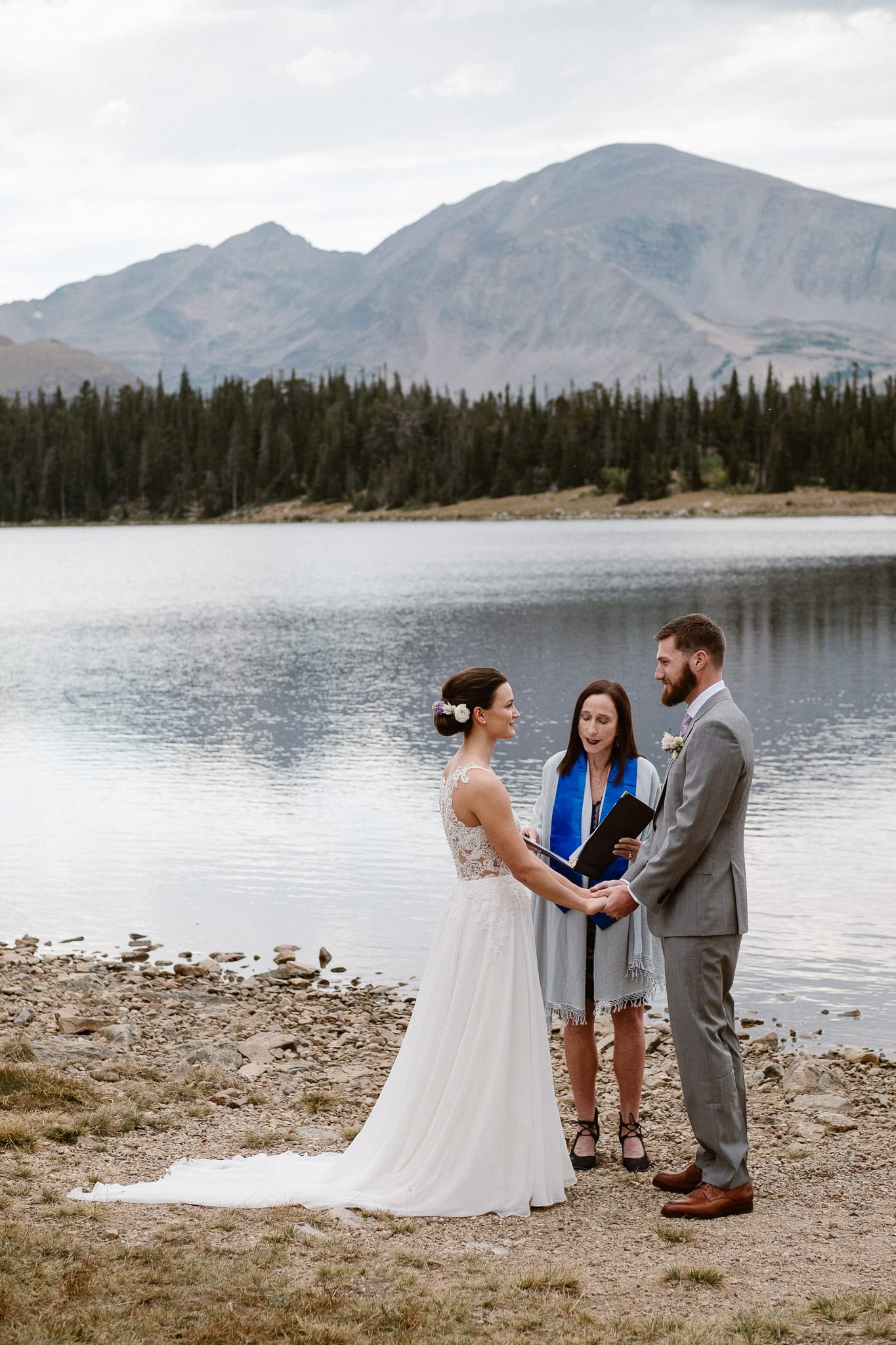 Colorado mountain elopement photographer, alpine lake adventure wedding, Boulder wedding photographer, outdoor ceremony