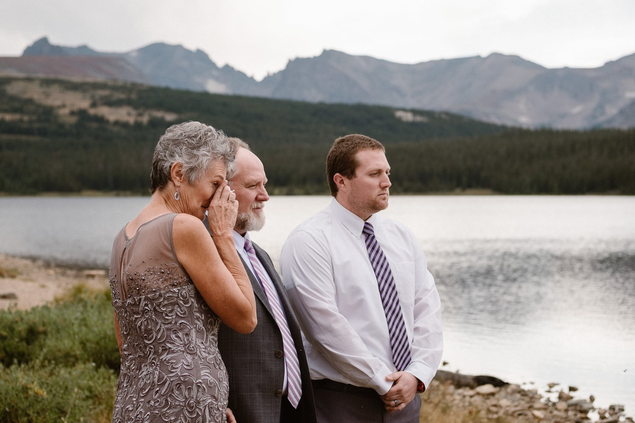 Colorado mountain elopement photographer, alpine lake adventure wedding, Boulder wedding photographer, outdoor ceremony, mother of the groom crying