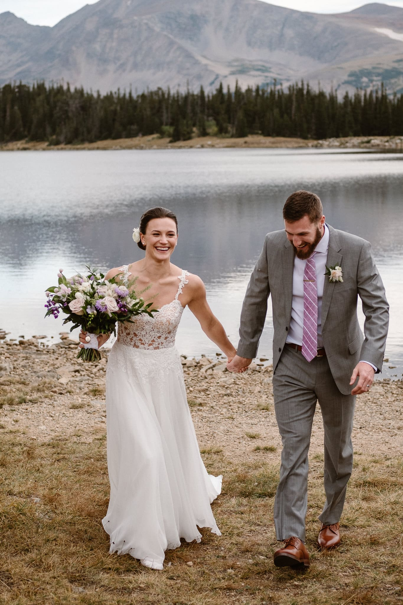 Colorado mountain elopement photographer, alpine lake adventure wedding, Boulder wedding photographer, outdoor ceremony, recessional