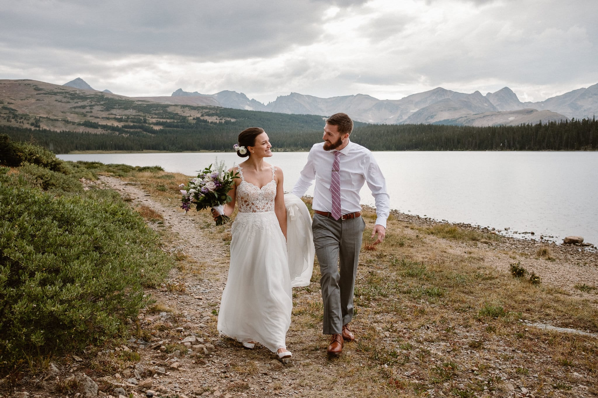 Boulder Colorado mountain elopement photographer, alpine lake adventure wedding