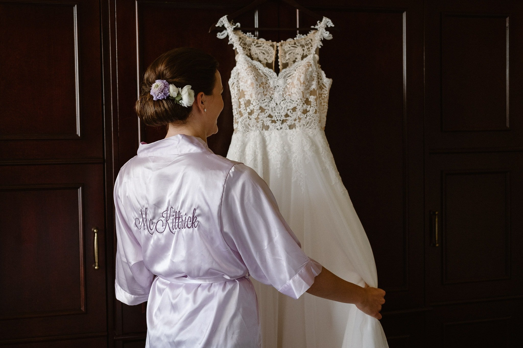 Colorado mountain elopement photographer, bride's dress at St. Julien Hotel in Boulder, Colorado wedding photographer, bride getting ready