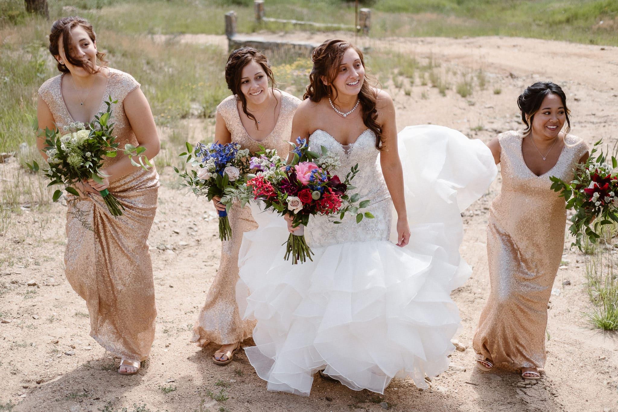 Dao House wedding photographer, Estes Park wedding venue, Colorado mountain wedding, bride and bridesmaids walking
