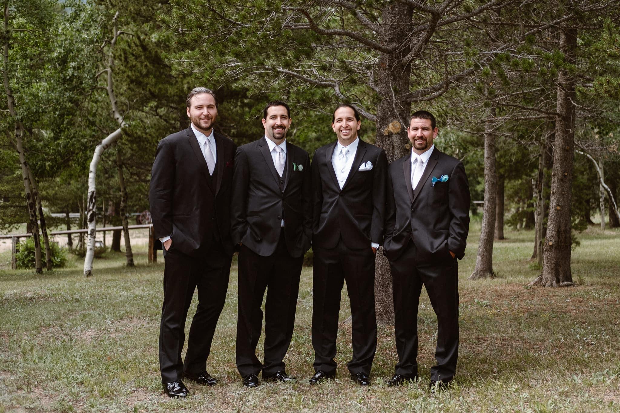 Dao House wedding photographer, Estes Park wedding venue, Colorado mountain wedding, groom and groomsmen