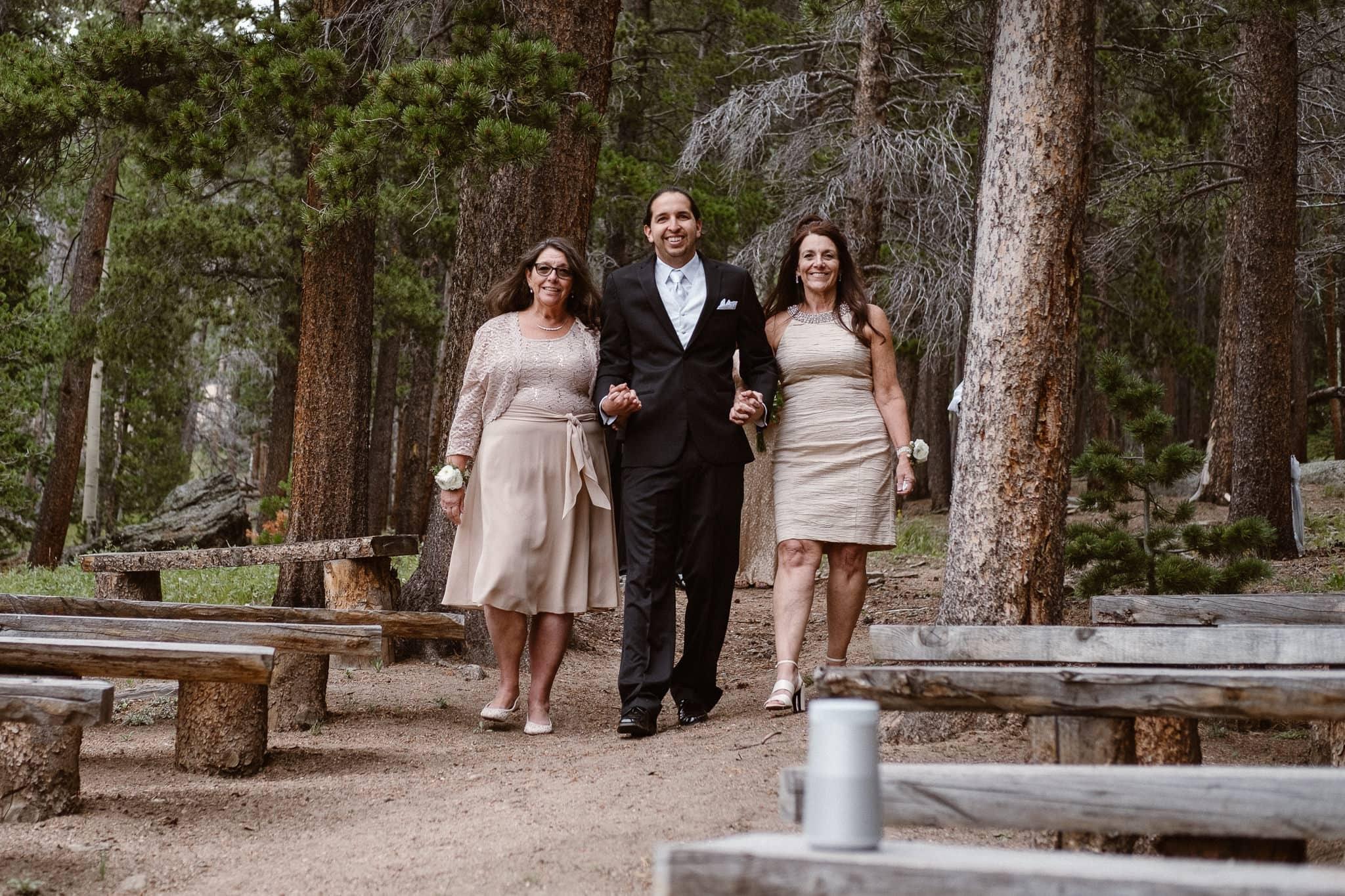 Dao House wedding photographer, Estes Park wedding venue, Colorado mountain wedding, groom walking mothers down the aisle