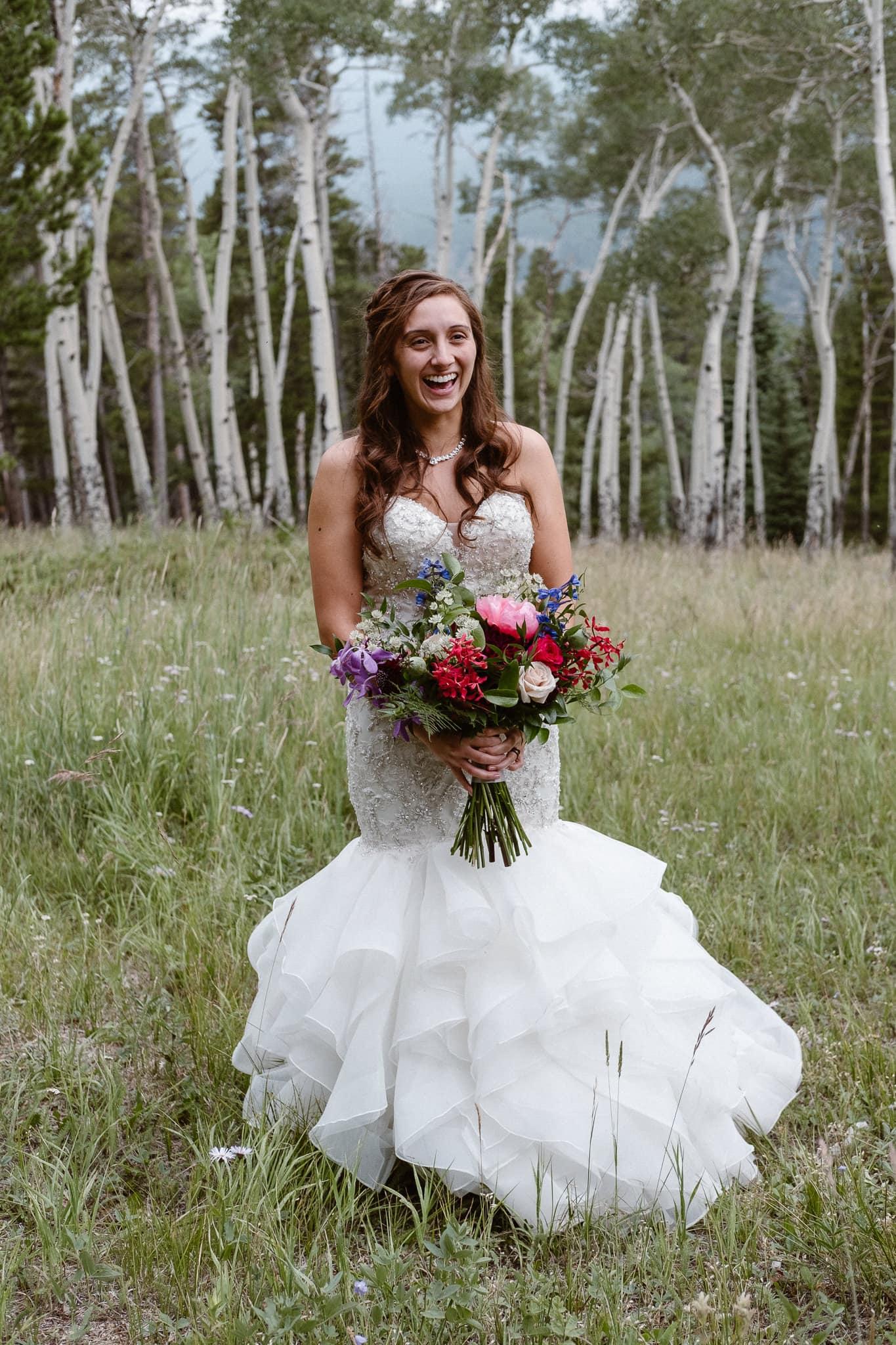 Dao House wedding photographer, Estes Park wedding venue, Colorado mountain wedding, outdoor ceremony, mountain ceremony, bride and groom portrait, aspen grove wedding,