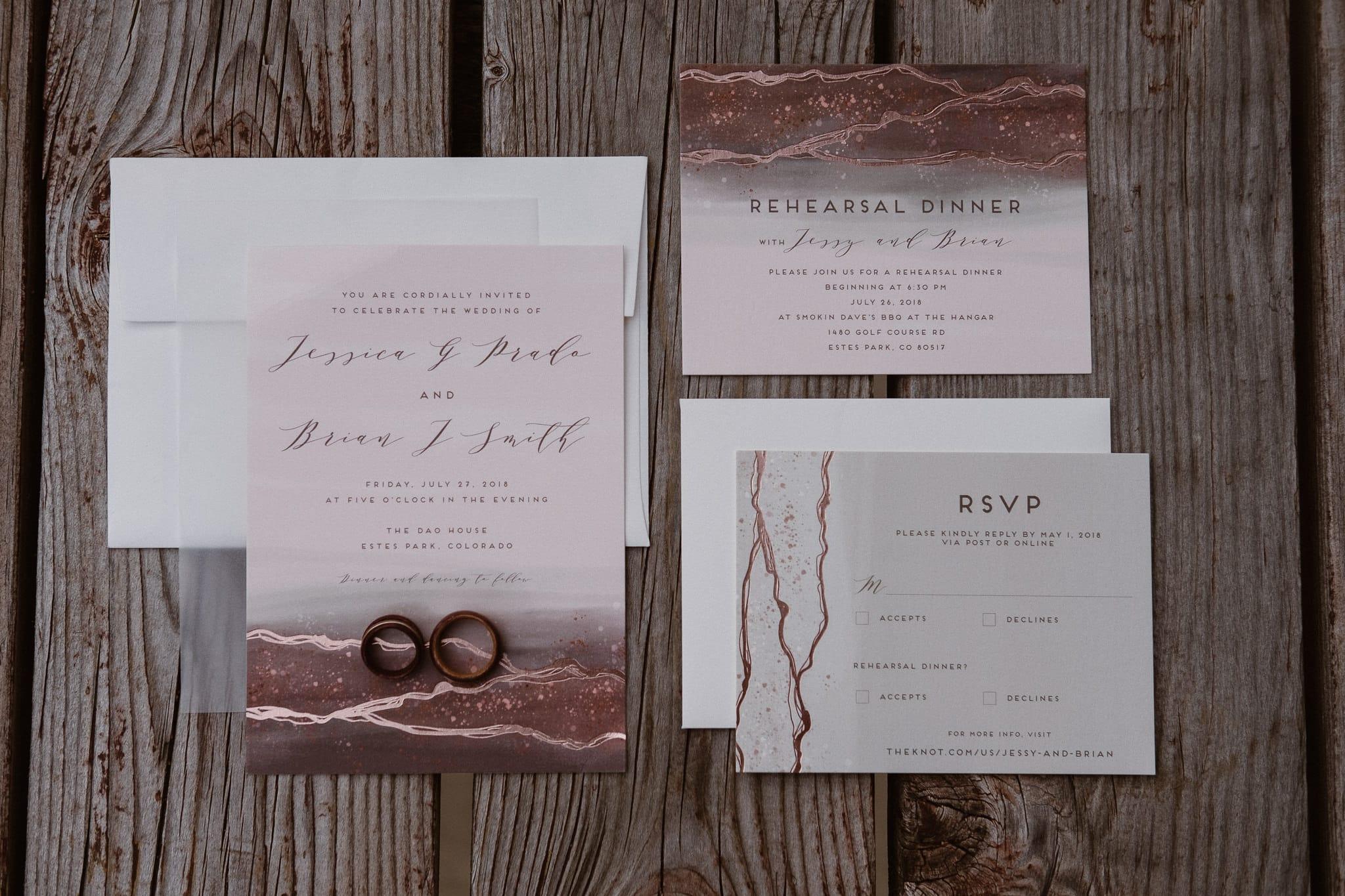 Dao House wedding photographer, Estes Park wedding venue, Colorado mountain wedding, Minted wedding invitations, pastel invitations
