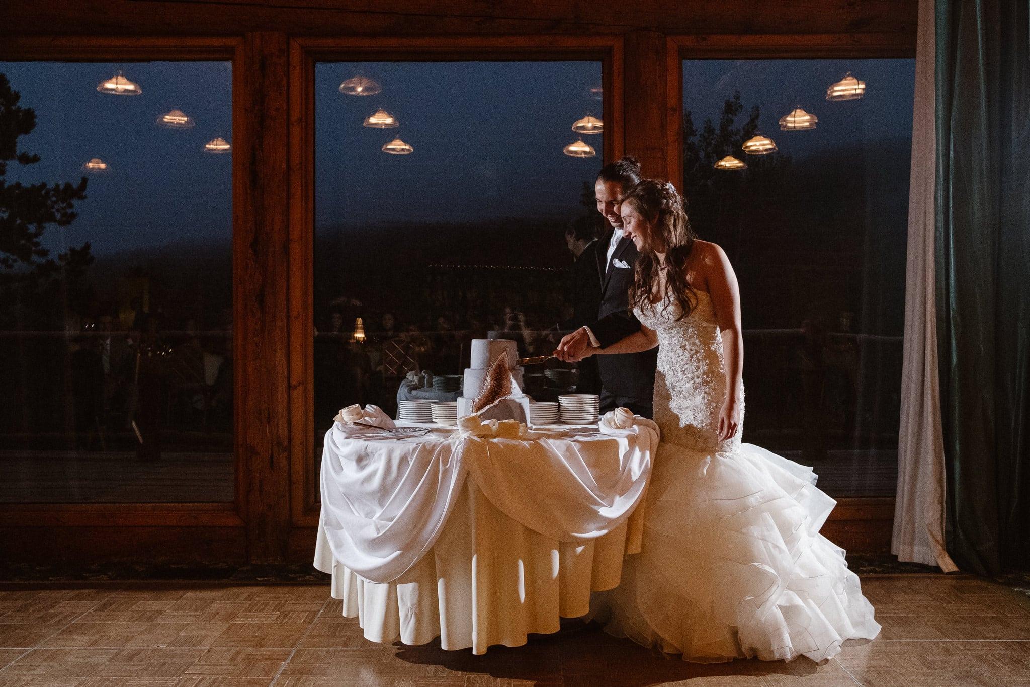 Dao House wedding photographer, Estes Park wedding venue, Colorado mountain wedding, bride and groom cutting cake, cake cutting,