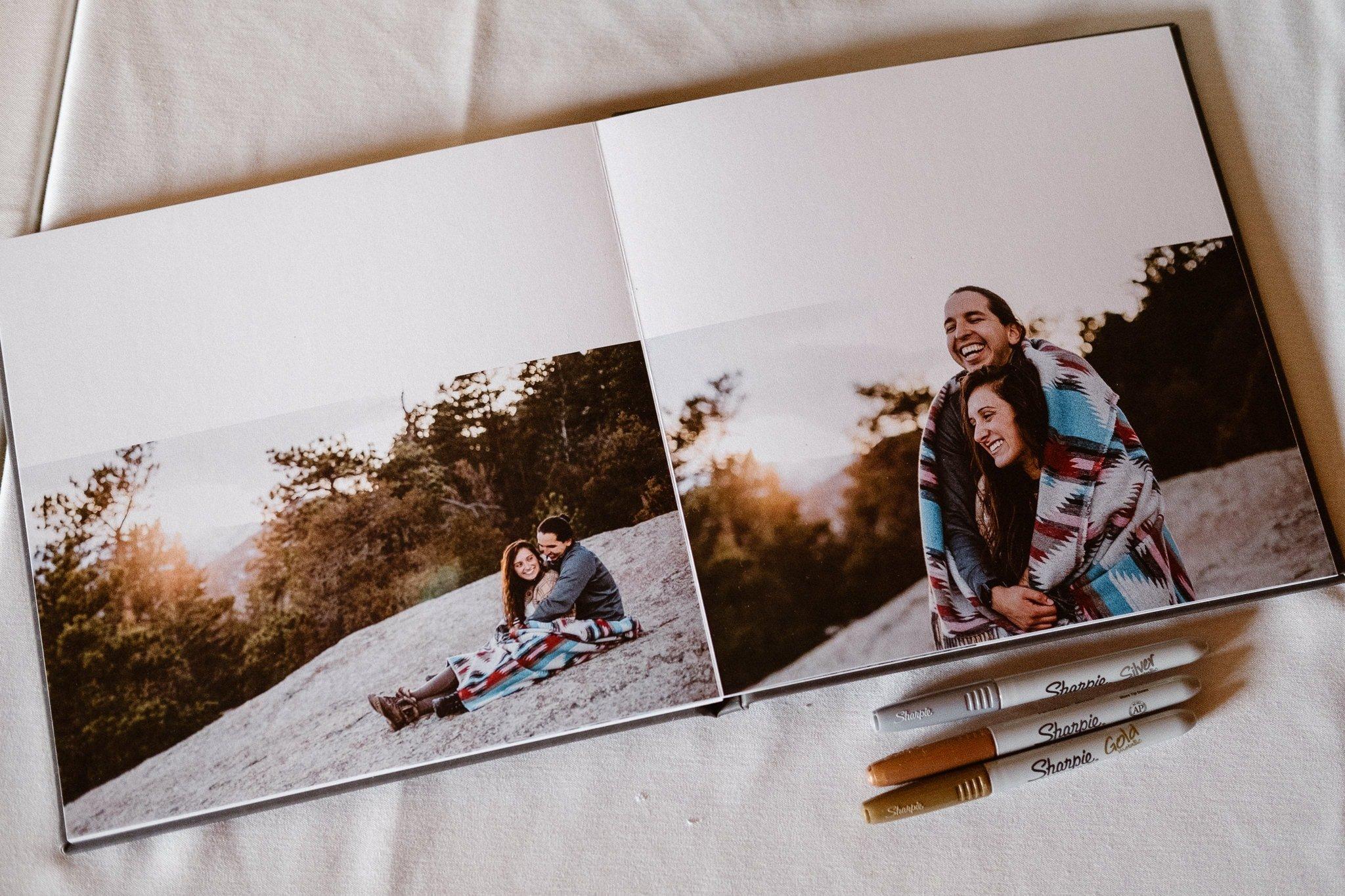 Dao House wedding photographer, Estes Park wedding venue, Colorado mountain wedding, engagement photo wedding guest book