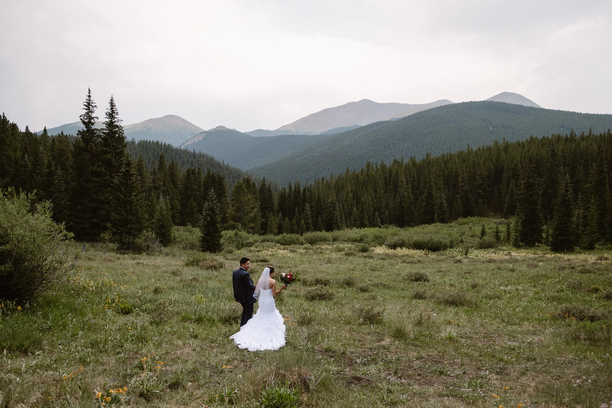 Lodge at Breckenridge Wedding Photographer, Colorado mountain wedding photographer, intimate wedding, bride and groom walking through alpine meadow, bride and groom portrait, wedding photos