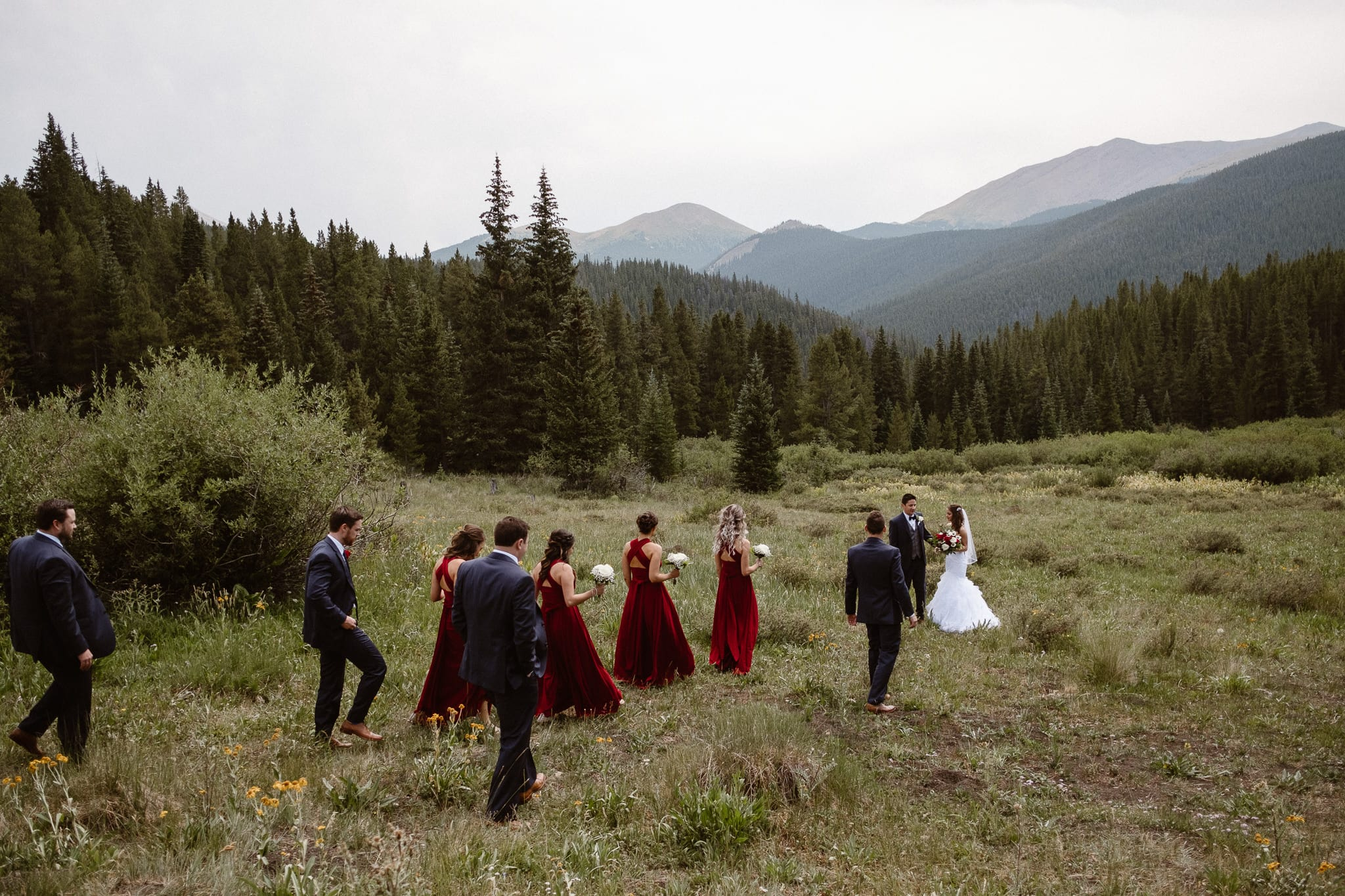 Lodge at Breckenridge Wedding Photographer, Colorado mountain wedding photographer, intimate wedding, bride and groom walking through alpine meadow with wedding party, bride and groom portrait, wedding photos