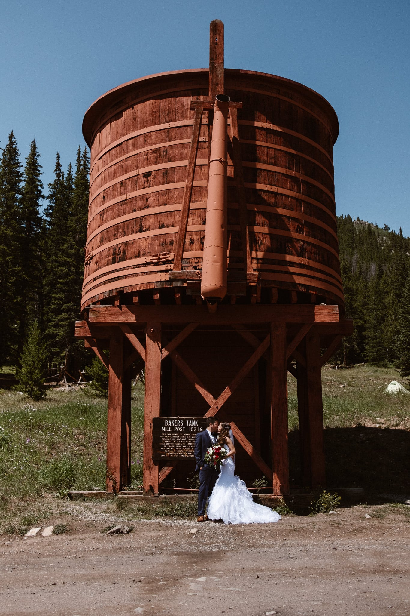 Lodge at Breckenridge Wedding Photographer, Colorado mountain wedding photographer, intimate wedding, bride and groom portrait, bridal portrait, water tower