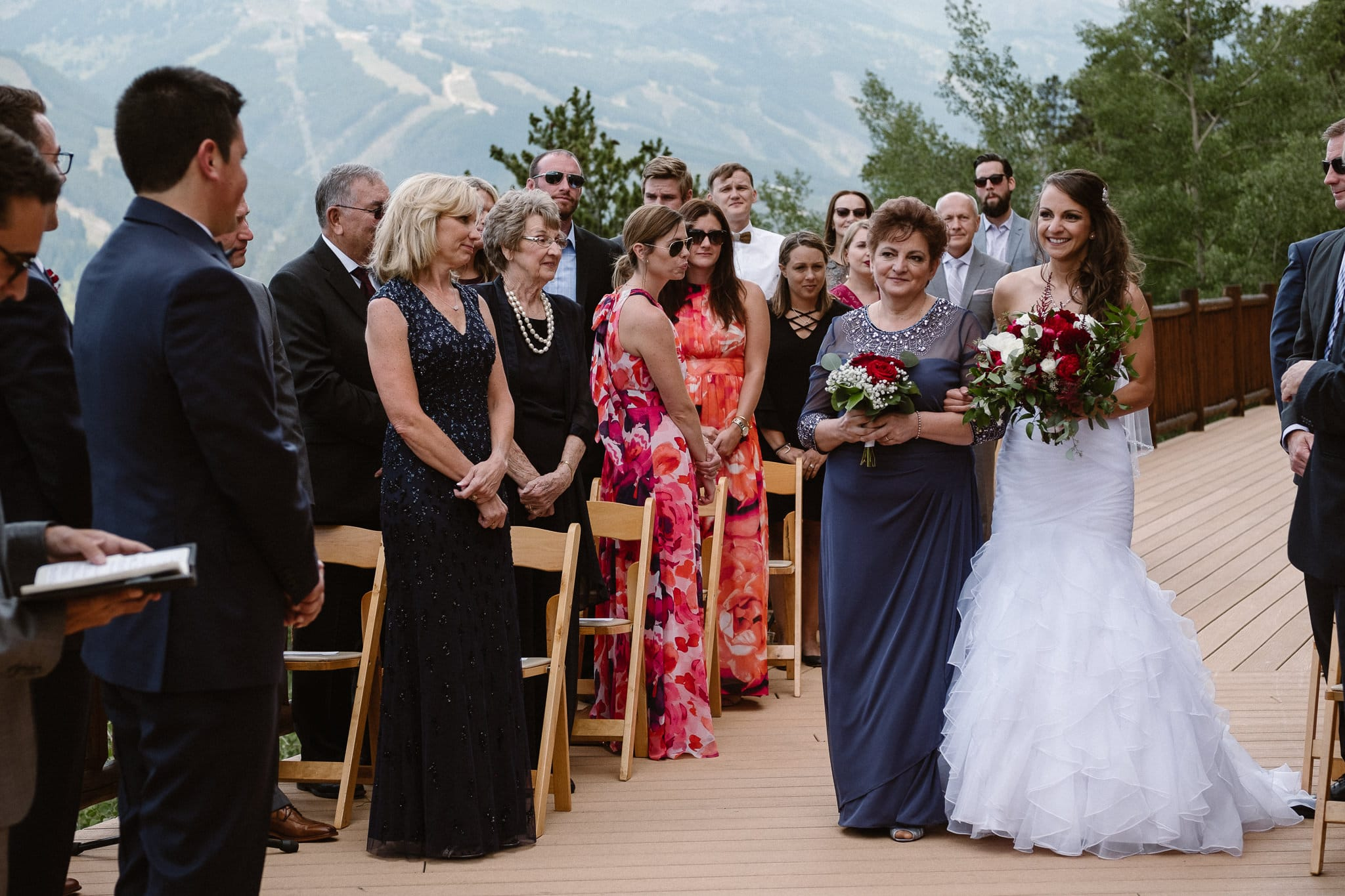 Wedding ceremony with mountain views in Breckenridge.
