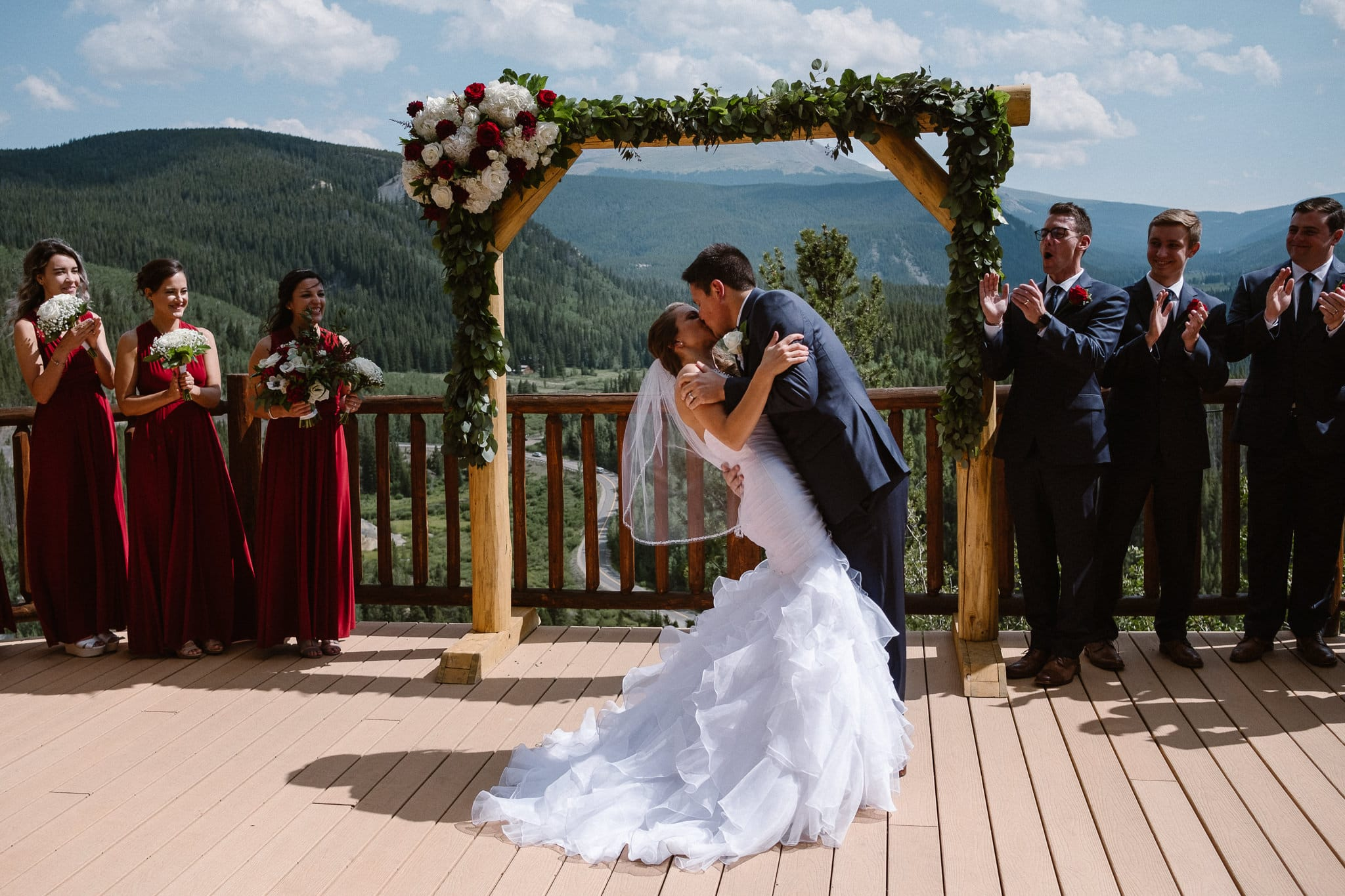 The Lodge at Breckenridge Wedding Photographer, Colorado mountain elopement photographer, bride and groom first kiss