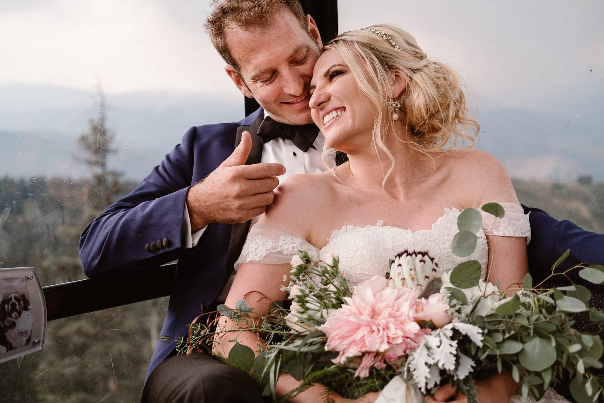 Aspen ranch wedding, Colorado mountain wedding photographer, Aspen luxury wedding, bride and groom riding gondola